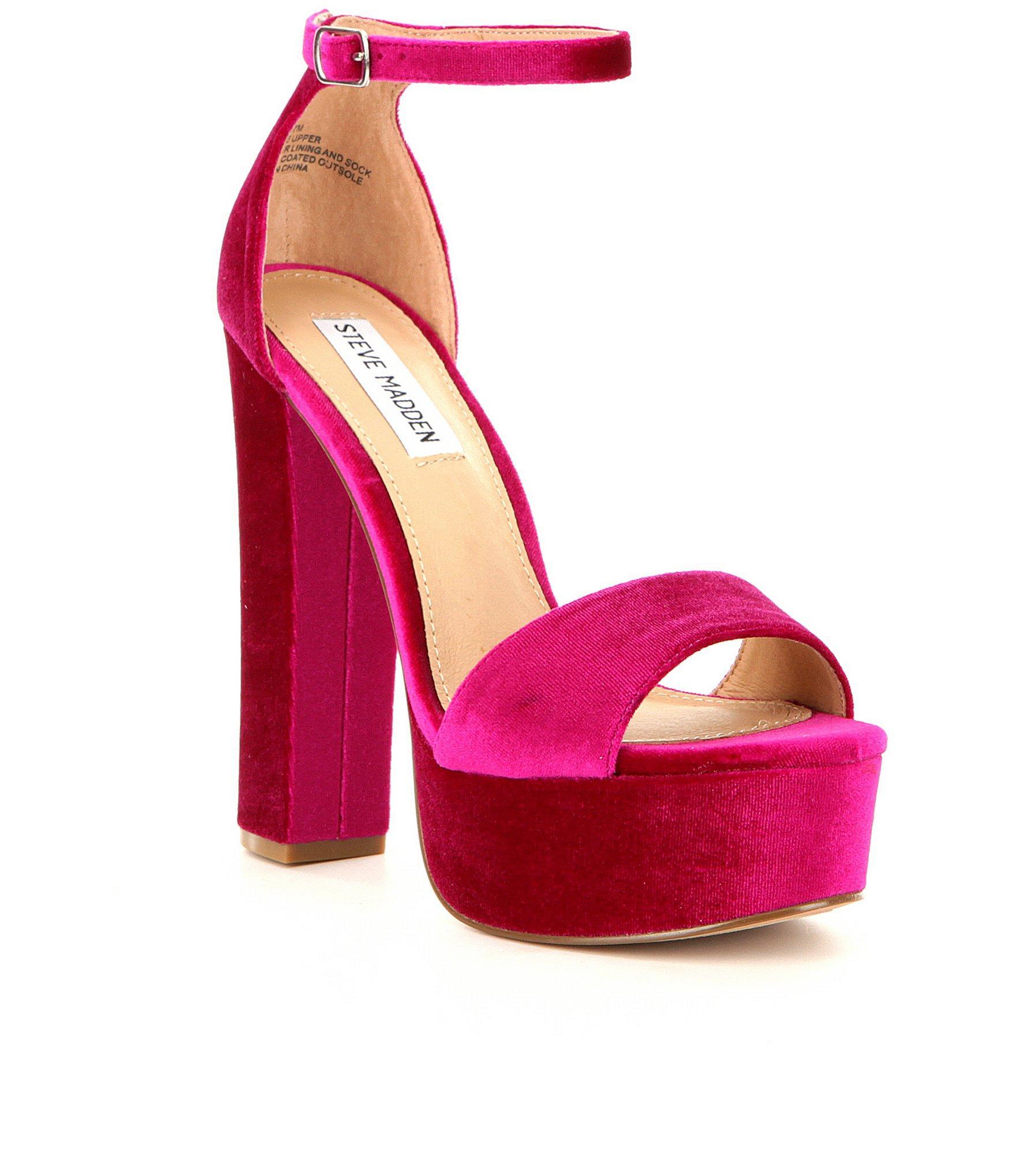 Steve madden Gonzo Velvet Ankle Strap Block Heel Platform Sandals ...