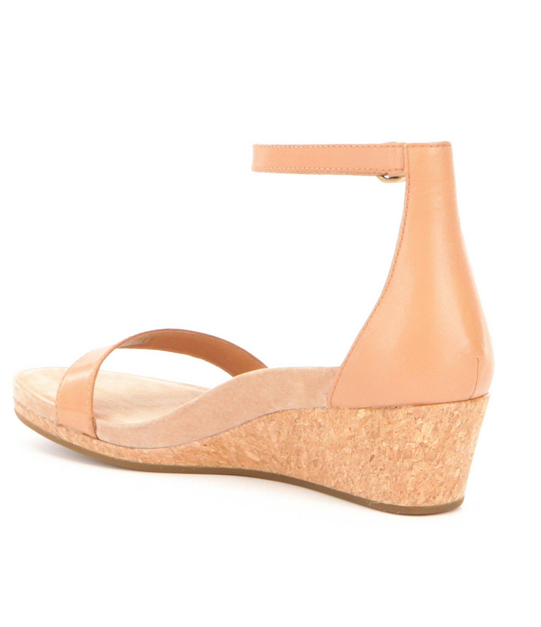 Lyst Ugg 174 Emilia Ankle Strap Wedge Sandals In Natural