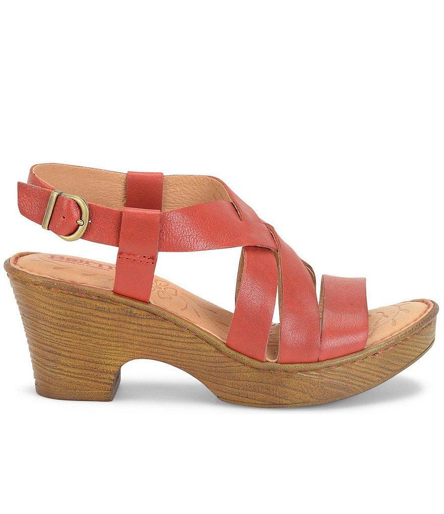 98eed0d2cb3 Lyst - Born Carmo Leather Criss Cross Sling Back Block Heel Sandals ...