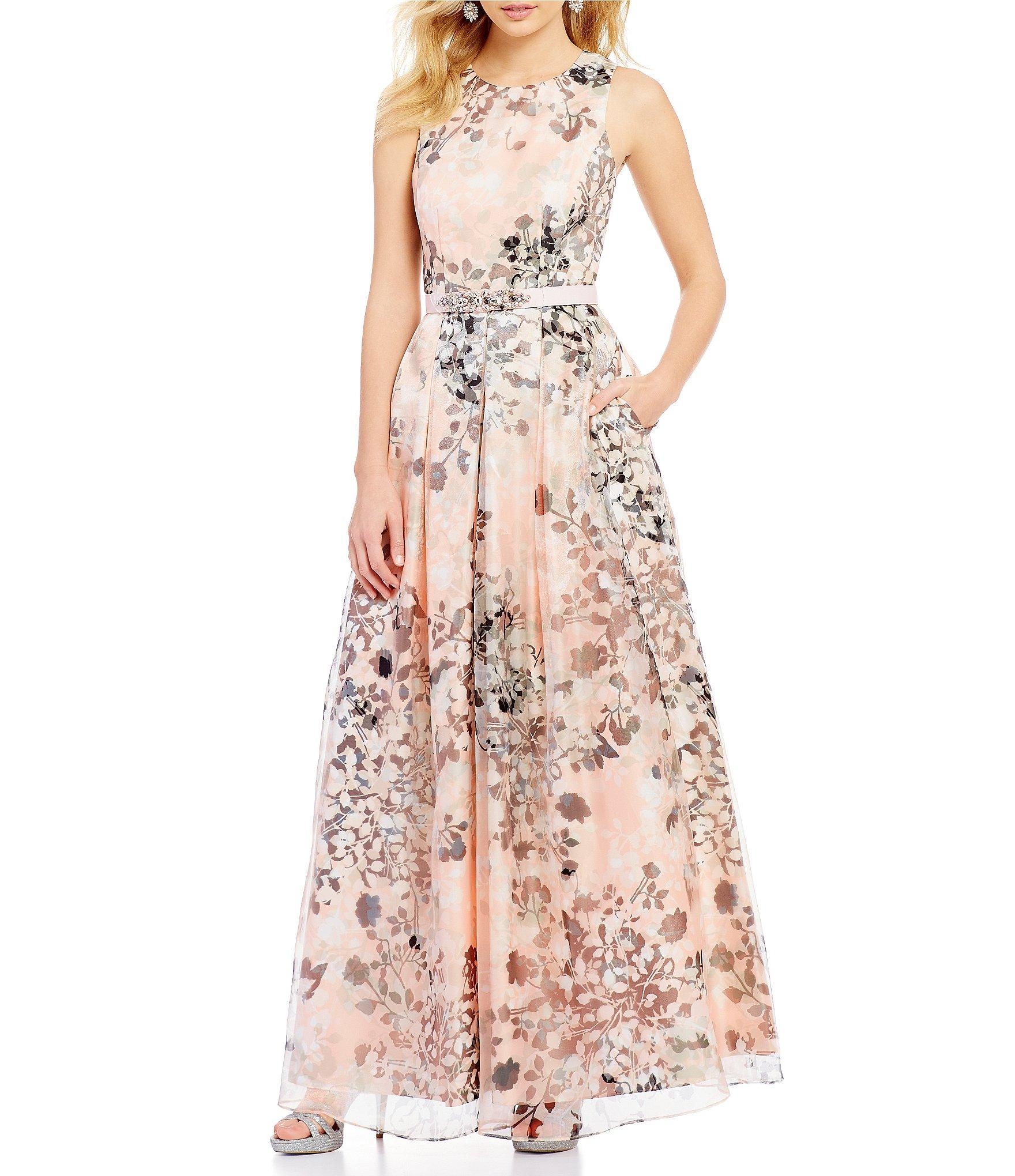 cd4b8021c0 Eliza J Round Neck Sleeveless Floral Organza Pleated Ballgown in ...