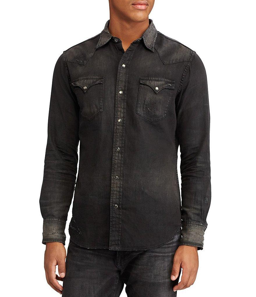 5a1232218044 ... closeout lyst polo ralph lauren cotton linen western shirt in black for  men 72932 45f33
