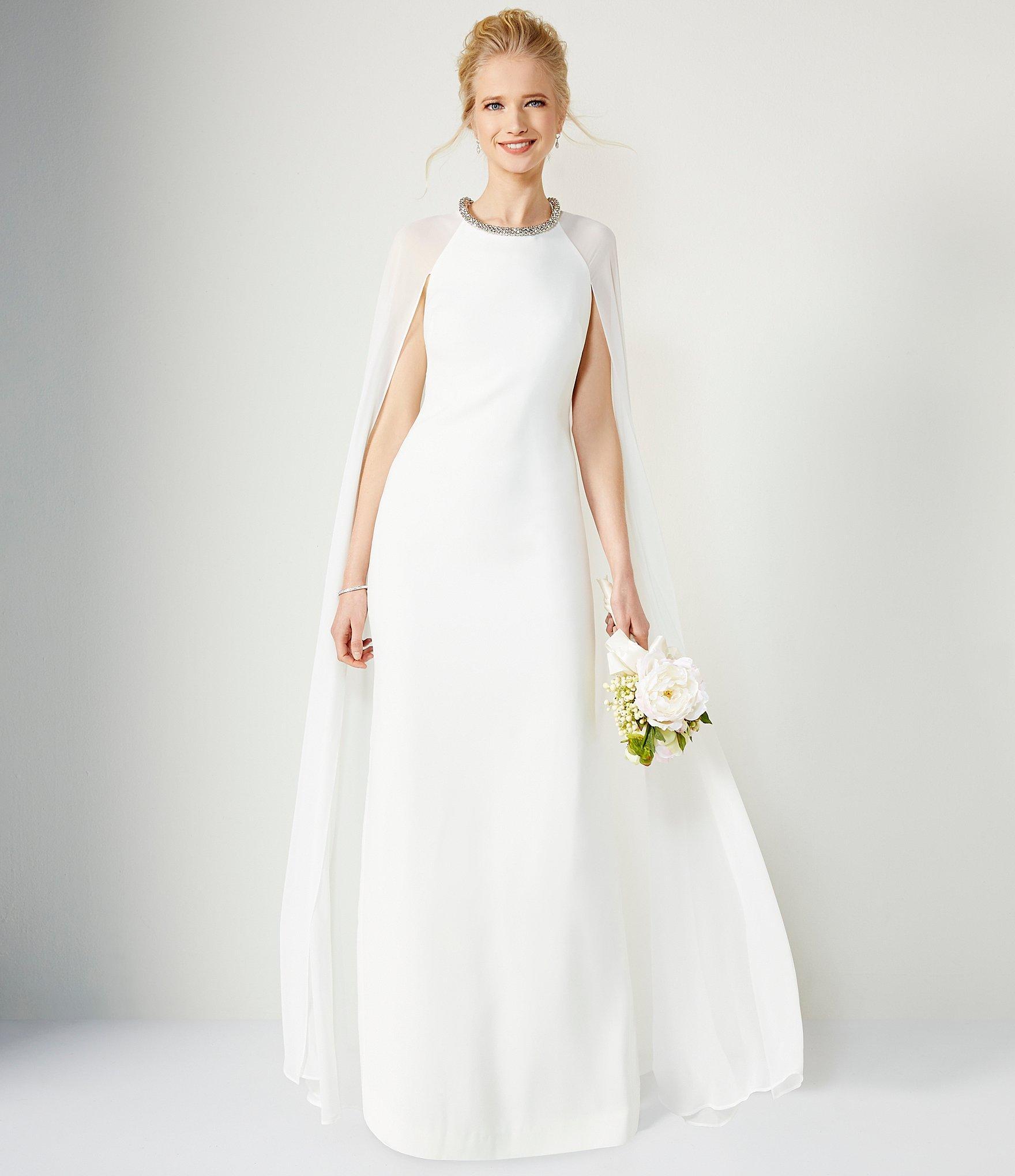 f5de7fadd63c Lyst - Calvin Klein Beaded-neck Chiffon Cape Gown in White