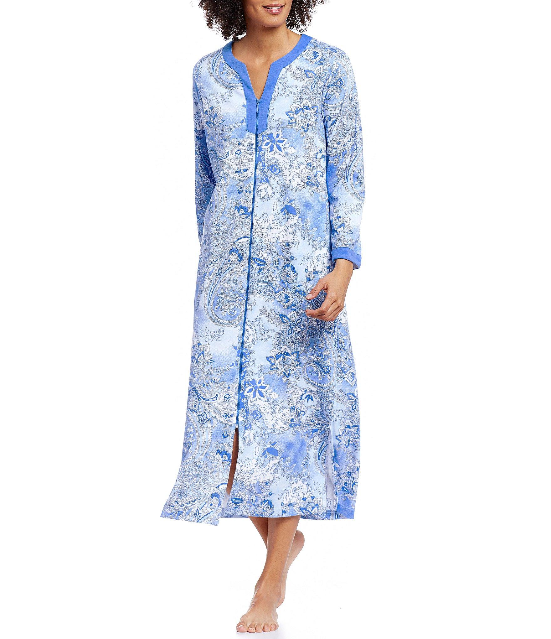 0ab9255871 Lyst - Miss Elaine Paisley Zip-front Robe in Blue
