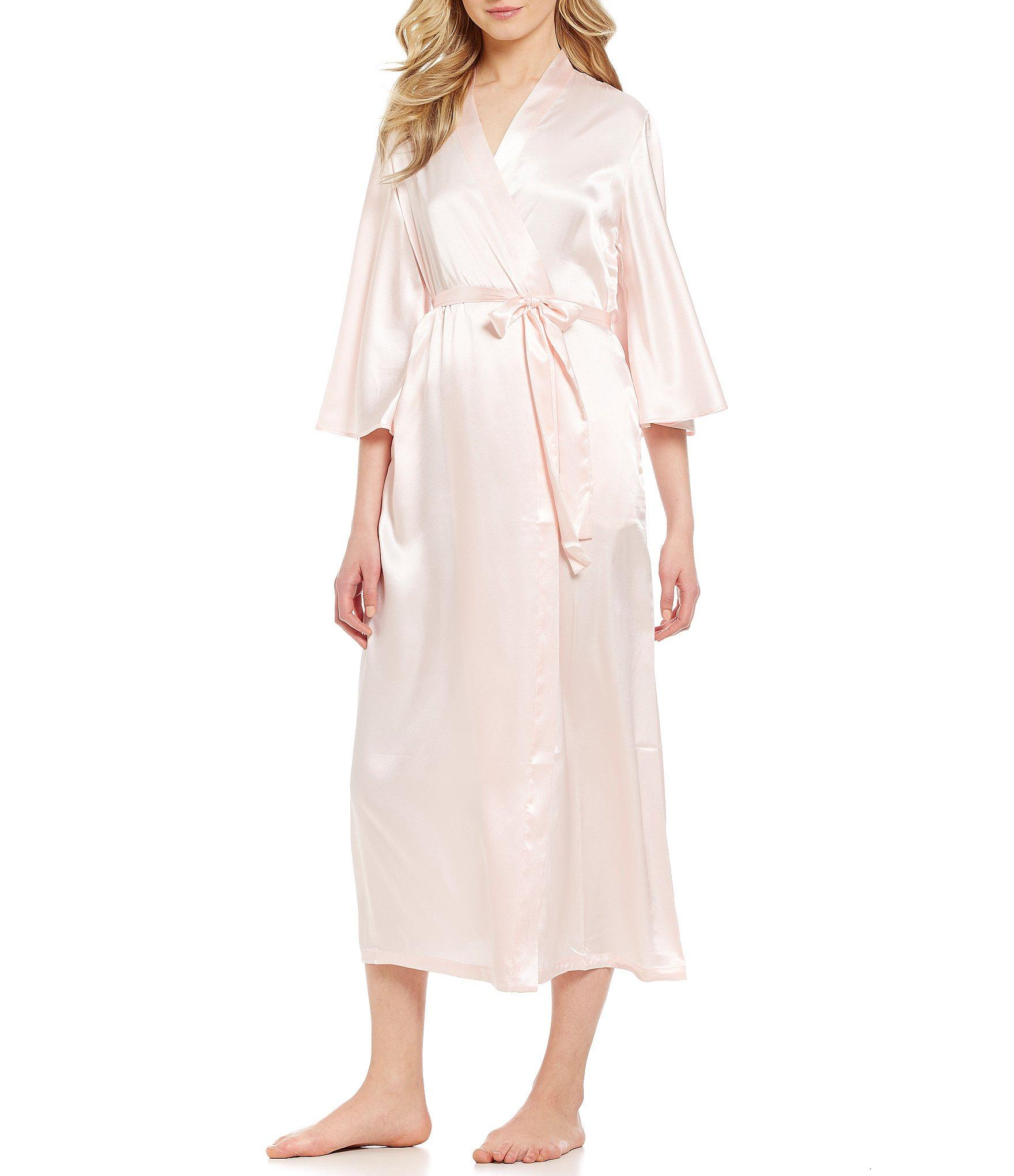 Oscar de la renta Pink Label Long Charmeuse Wrap Robe in Pink  Lyst