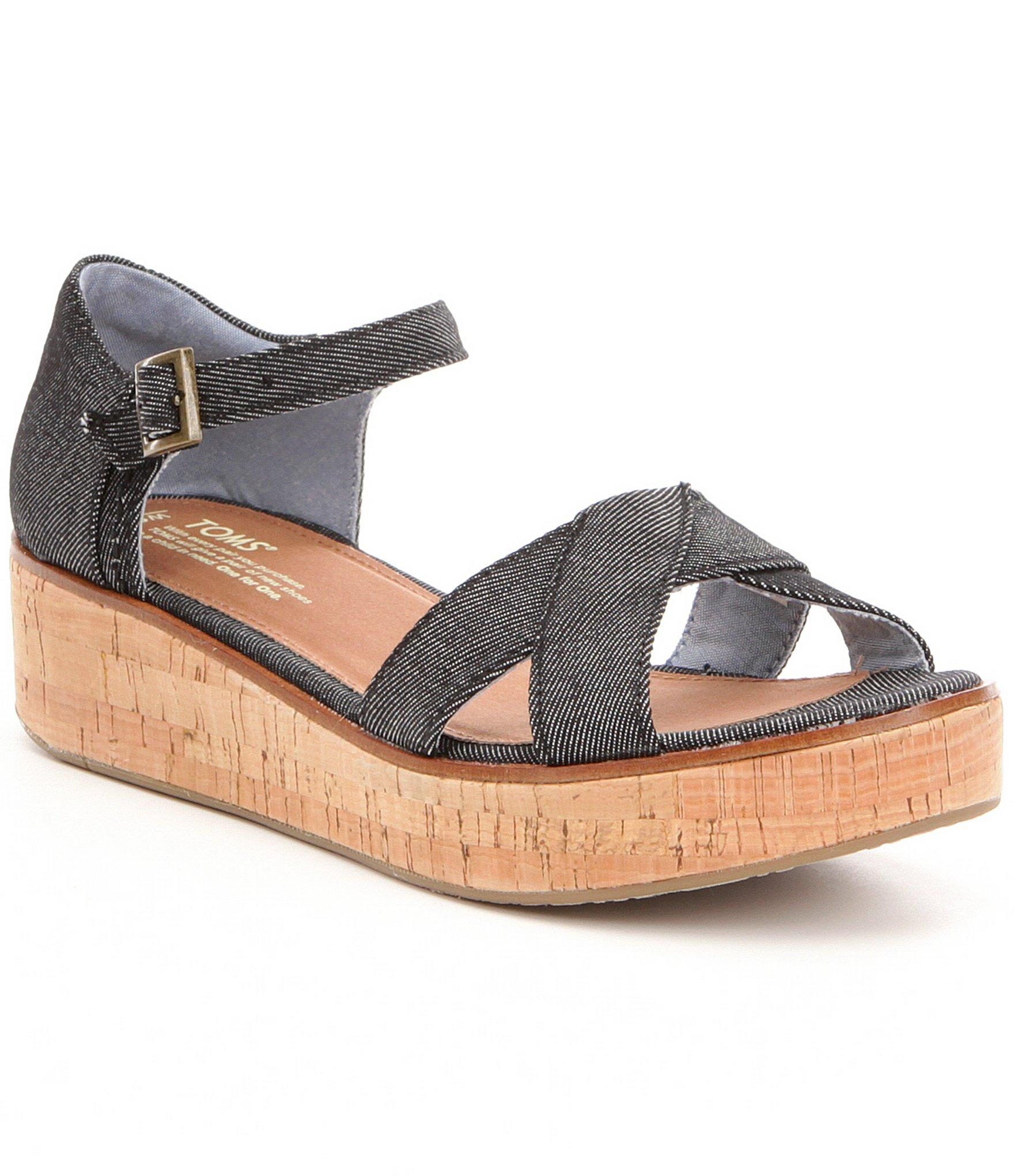 toms wedge sandals in black save 26 lyst