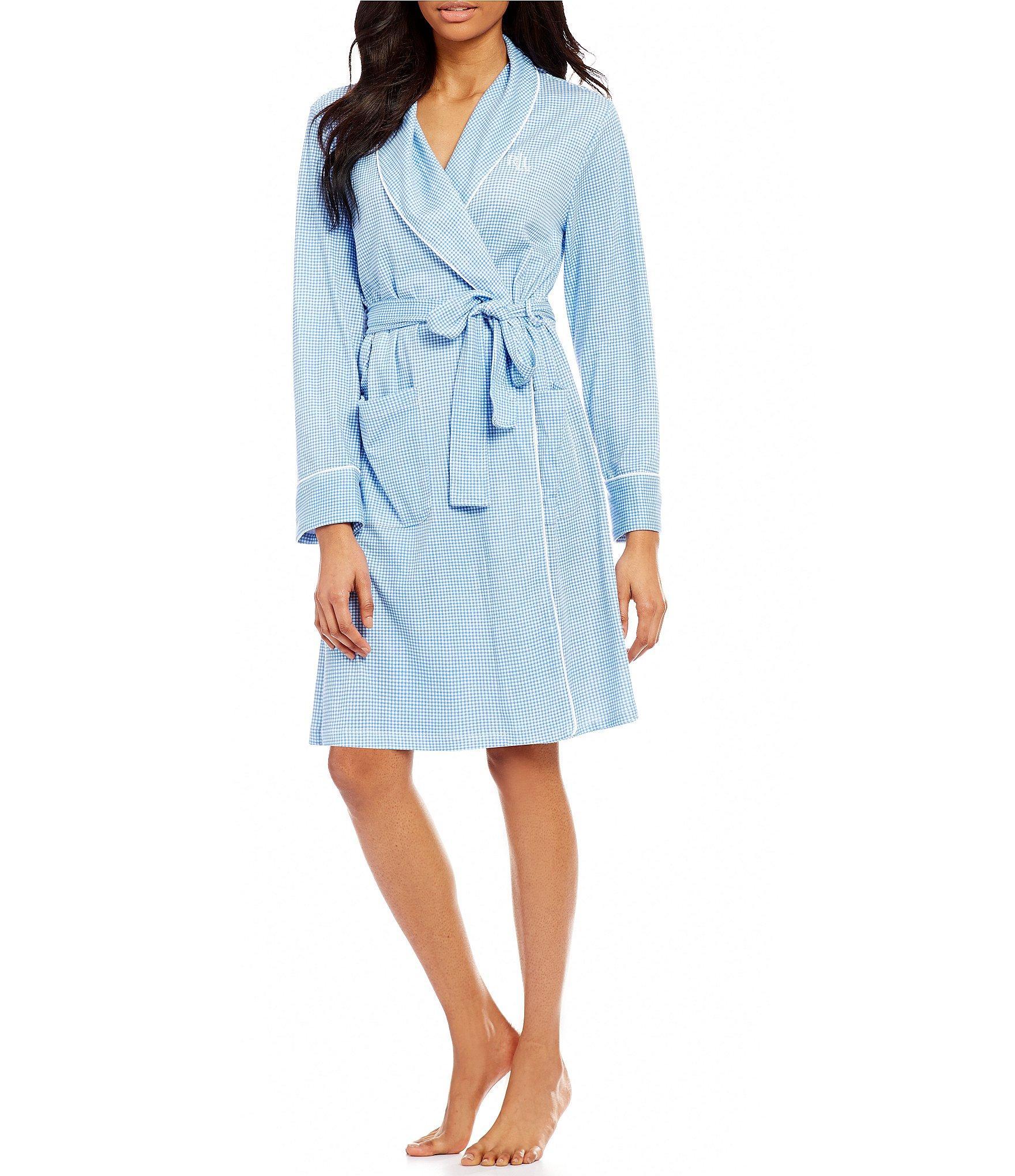 Lauren by ralph lauren gingham shawl collar robe in blue for Robe chemise ralph lauren
