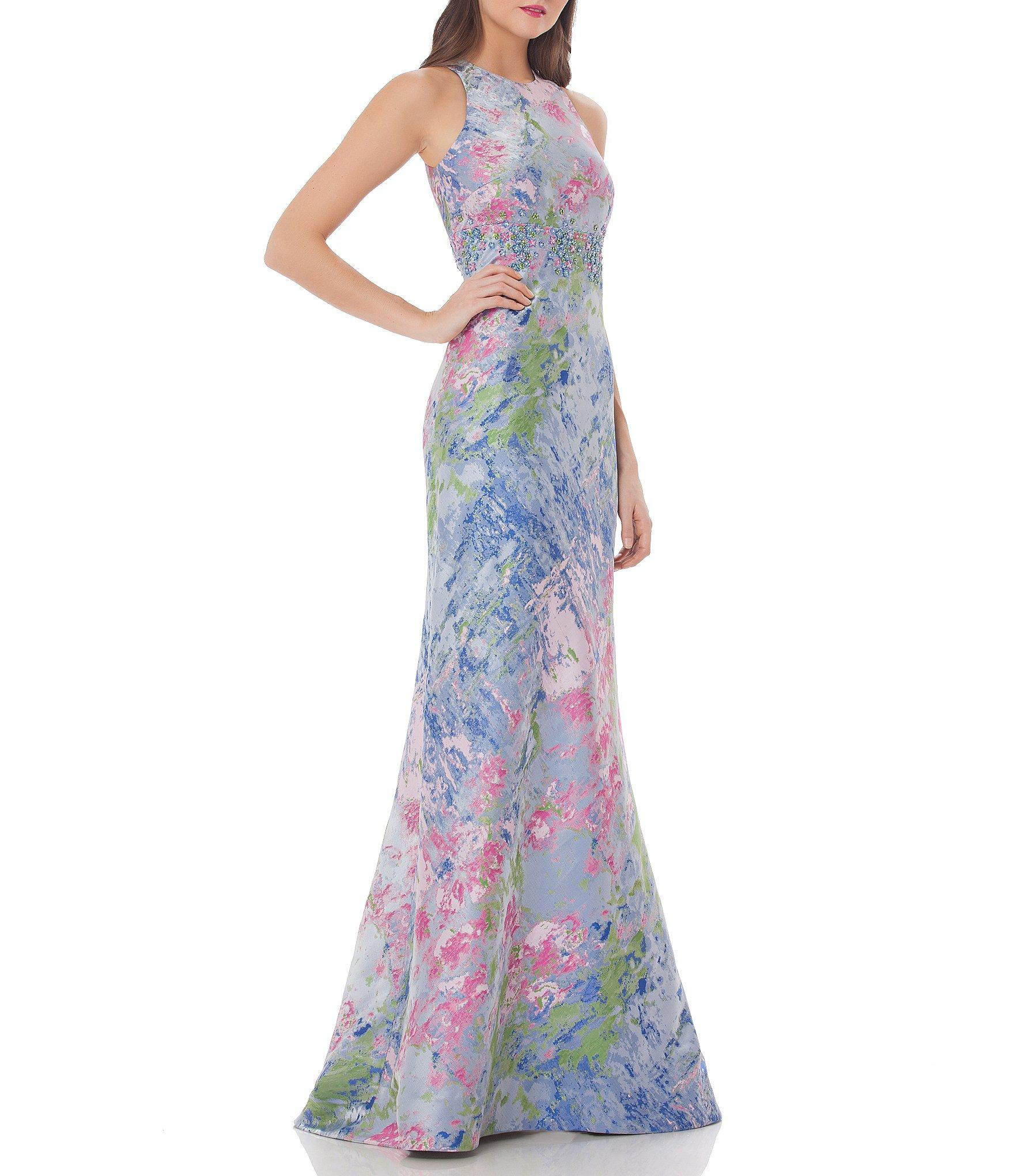 f98c4cc7 Carmen Marc Valvo Infusion Brocade Floral Printed Jacquard Gown in ...