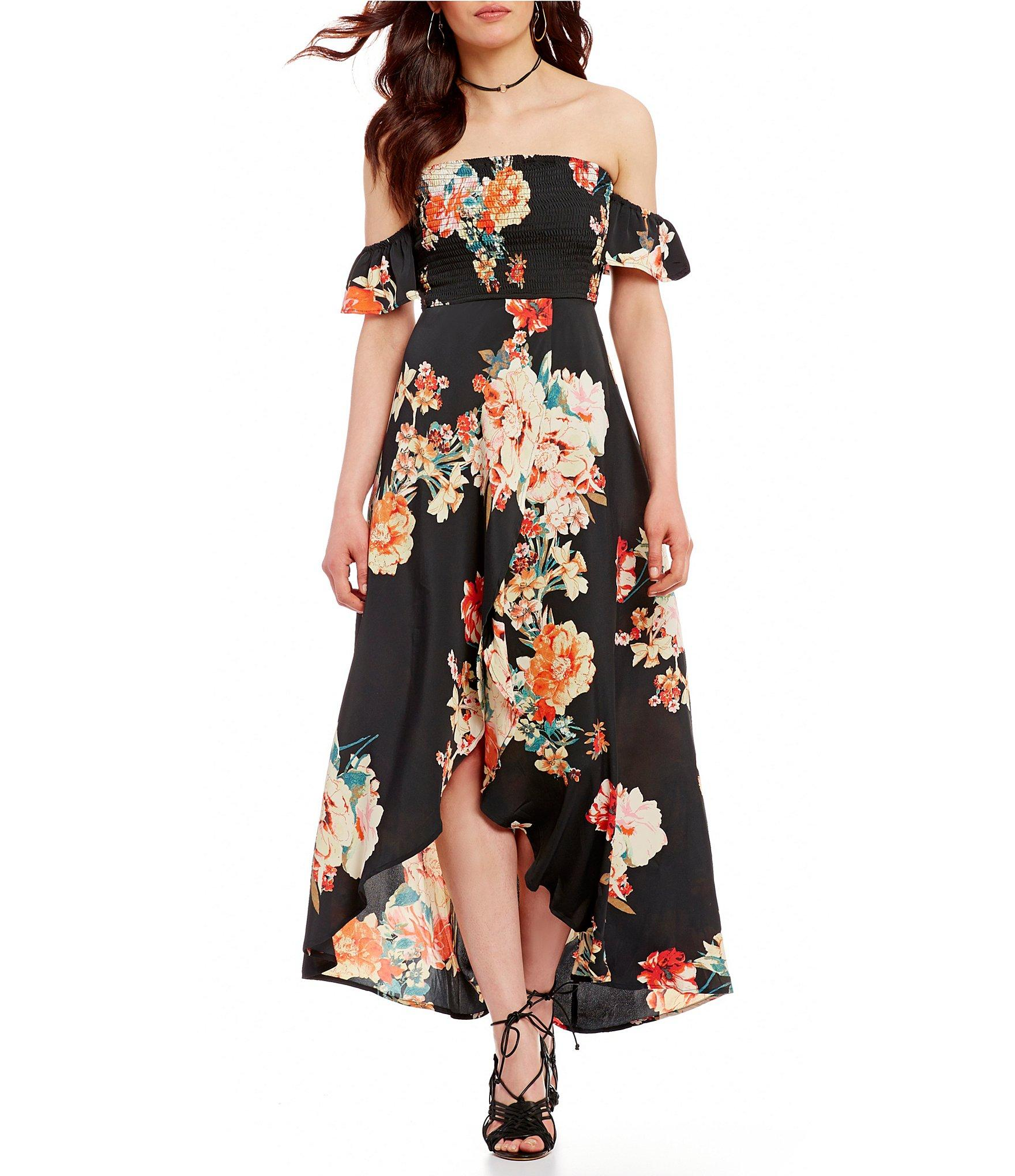 a7955736e49 Band Of Gypsies Off-the-shoulder Smocked Floral Maxi Dress in Black ...