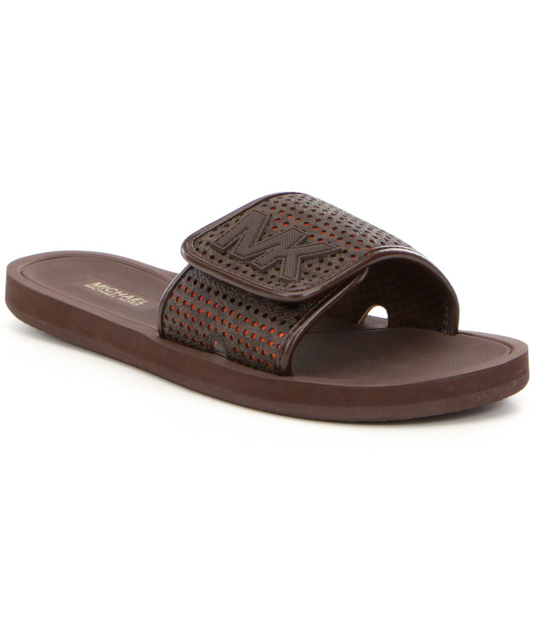 Lyst Michael Michael Kors Mk Slide On Sandals In Brown