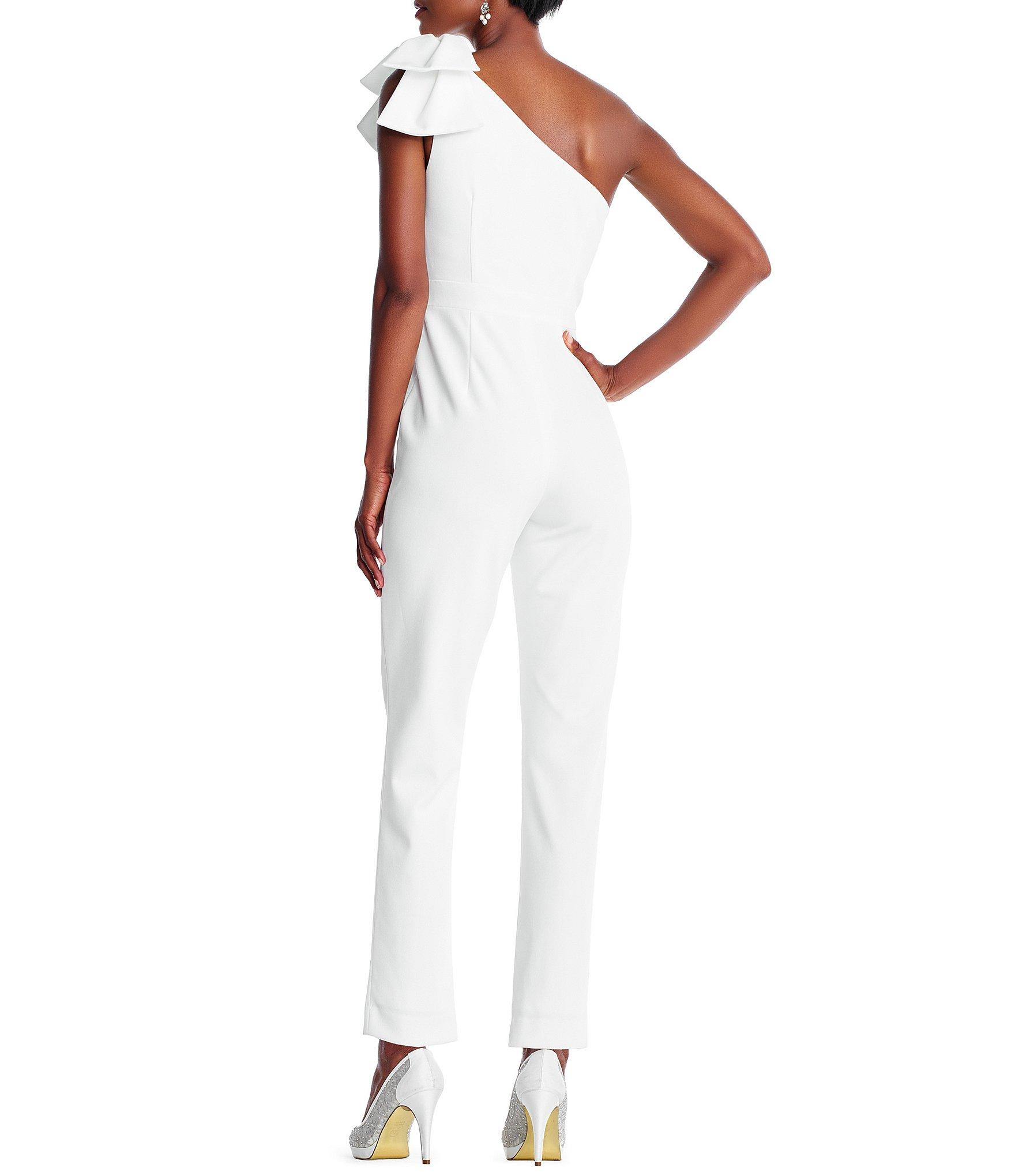 85185361bef Adrianna Papell - White Petite Size One-shoulder Bow Jumpsuit - Lyst. View  fullscreen