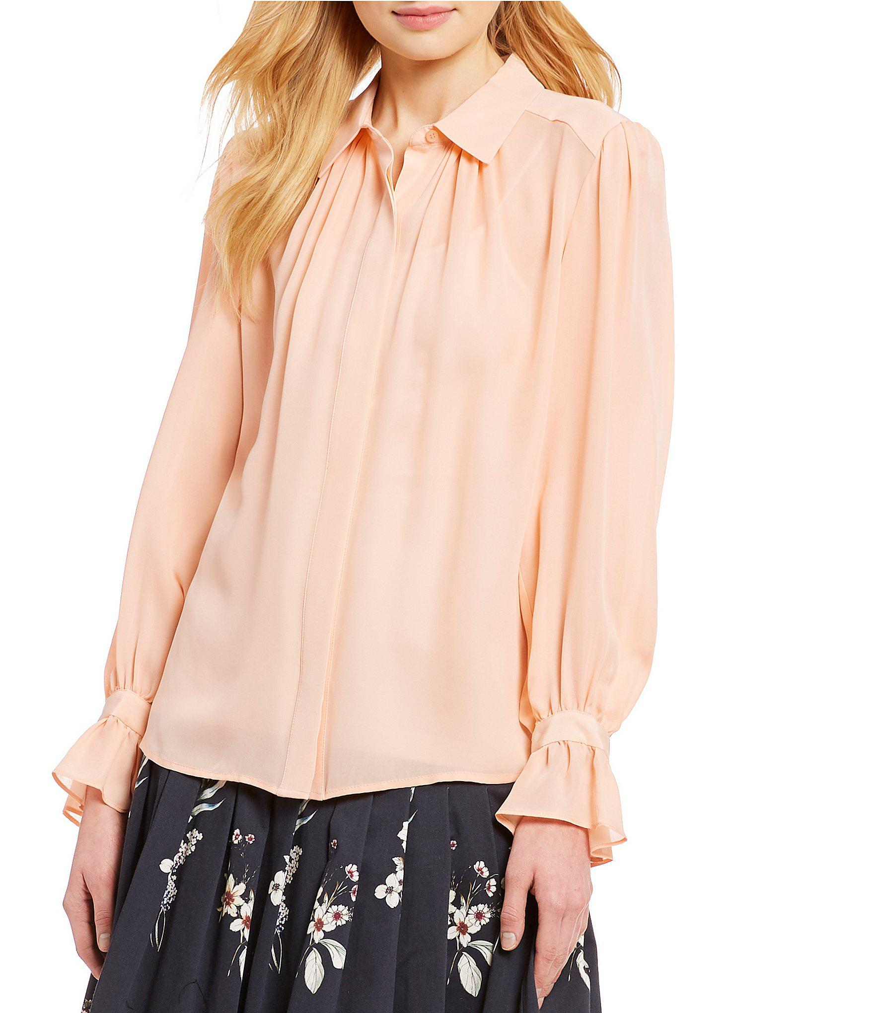 1e9978f23c5cdd Lyst - Antonio Melani Ella Poet Sleeve Button Front Blouse in Pink
