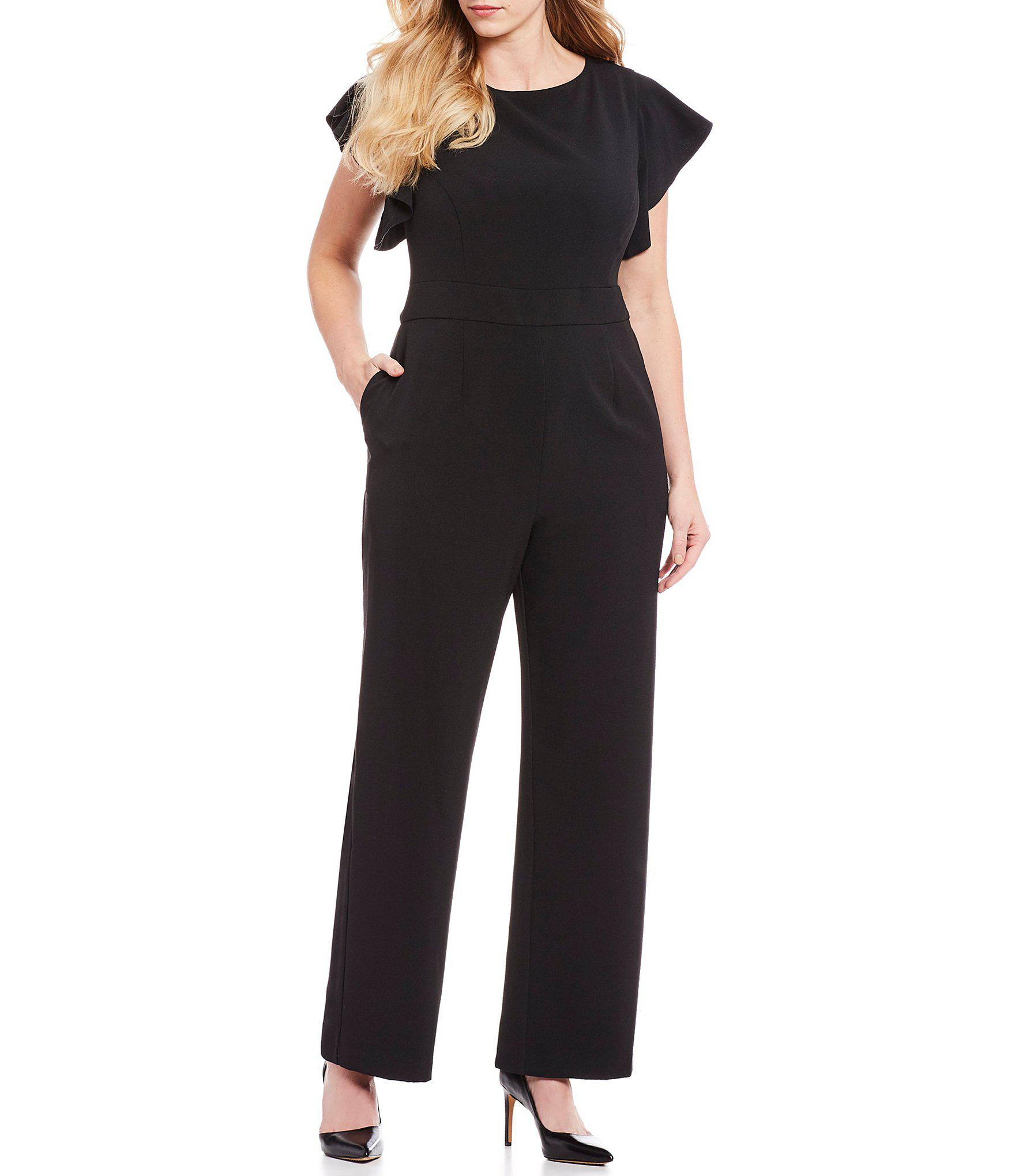 ba620cc09a0 Lyst - Vince Camuto Plus Size Flutter Sleeve Jumpsuit in Black