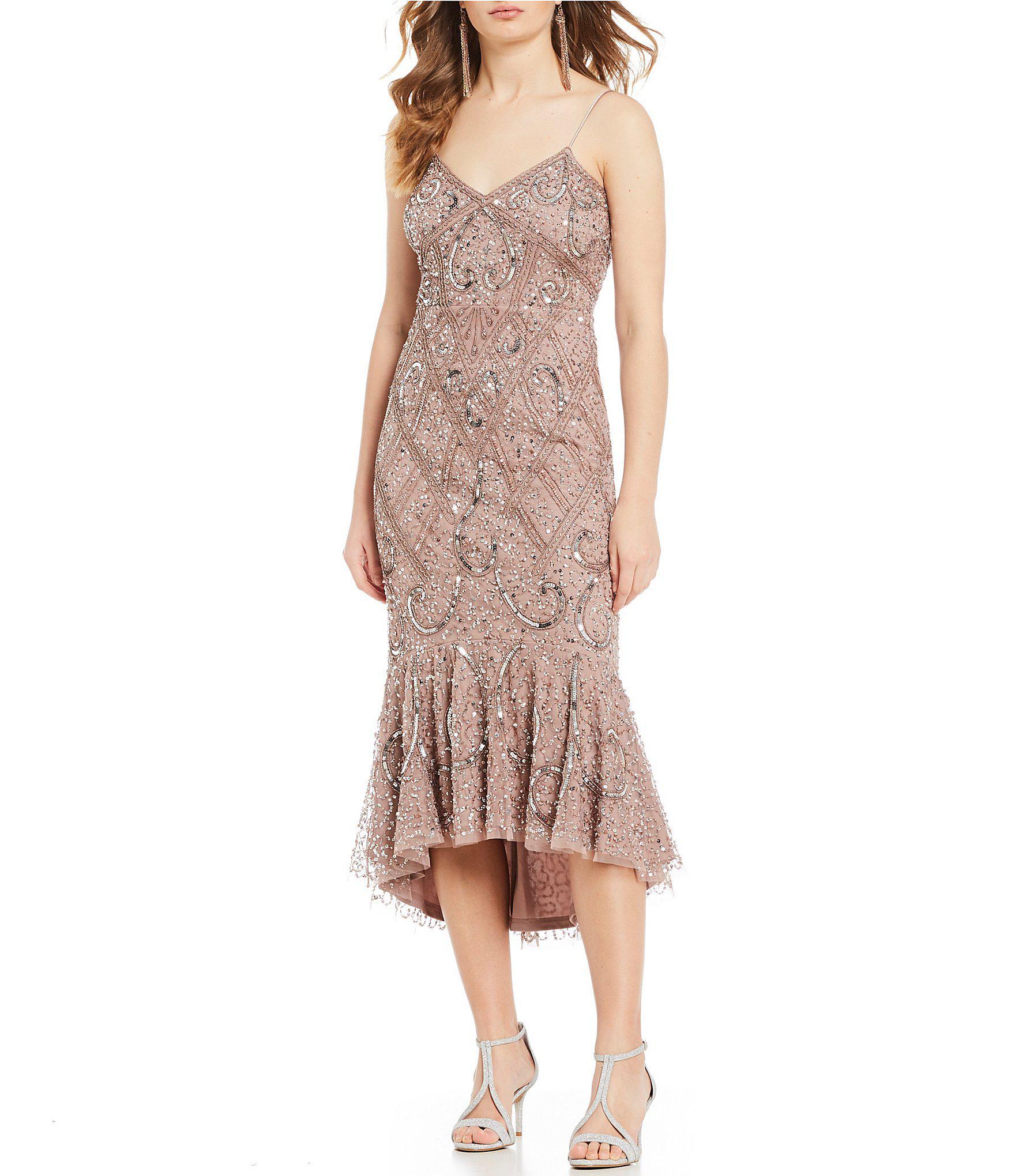 85eb5bb2777 Gianni Bini Jahna Fluted Hem Beaded Midi Dress in Brown - Lyst