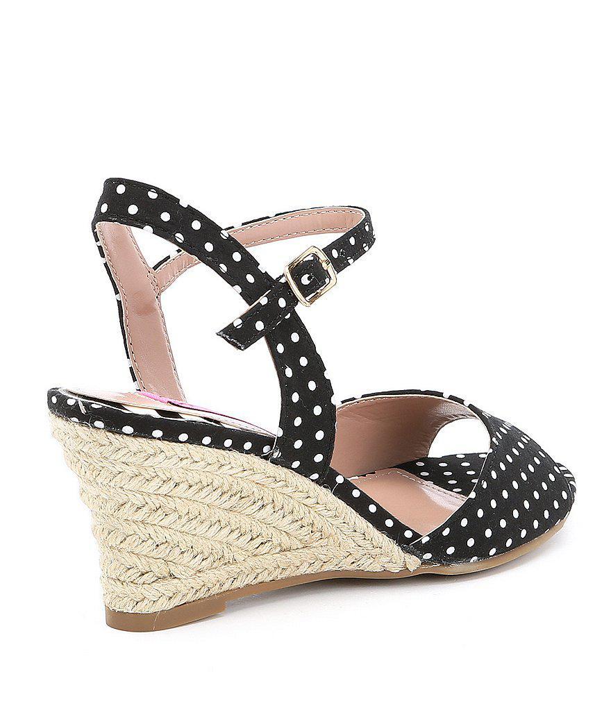 Athena Polka Dot Espadrille Wedge Sandals QqC8dFW