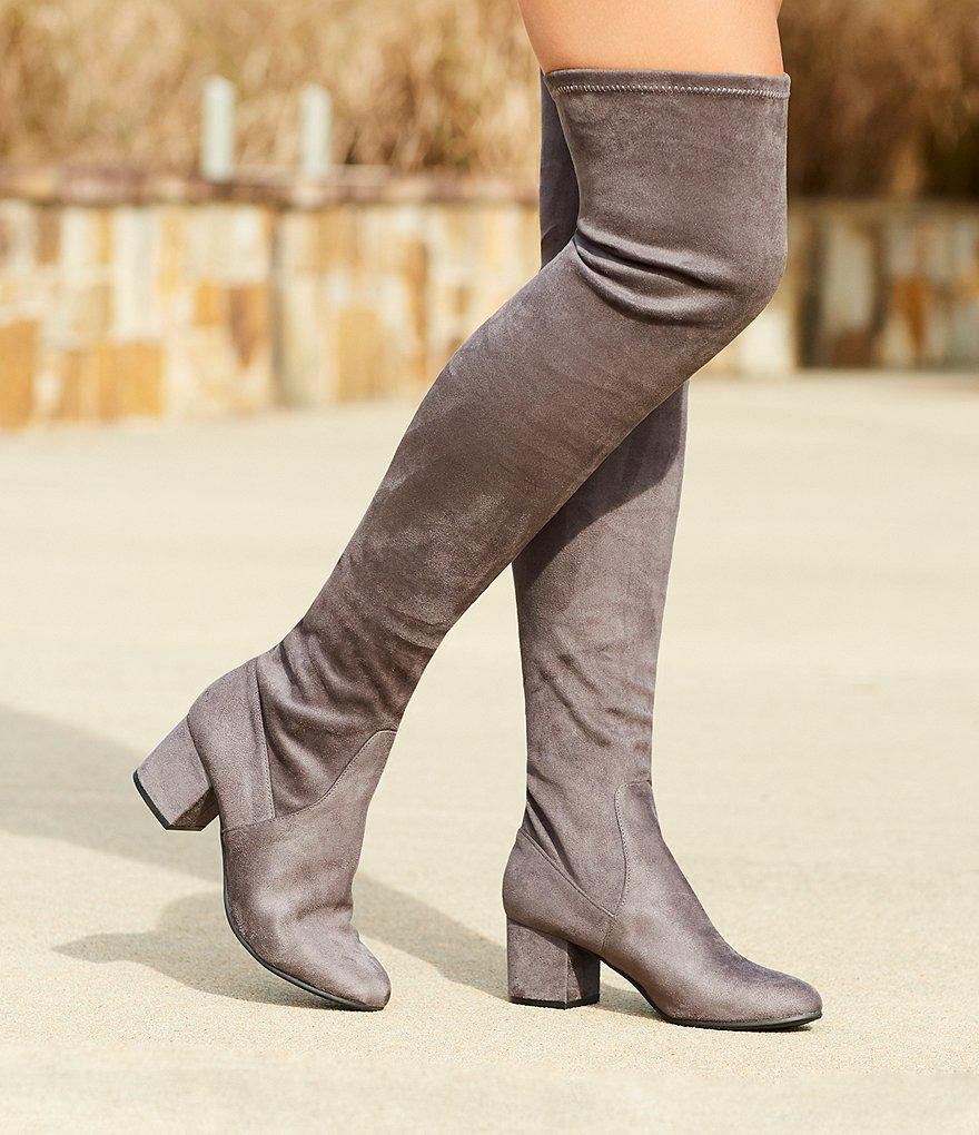 9d1b0a4b354 Steve Madden Isaac Over The Knee Dress Boots in Gray - Lyst