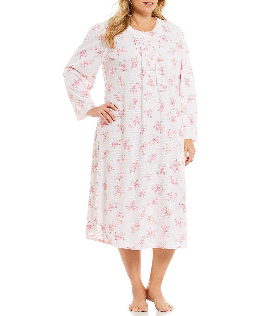 08918f41ac Lyst - Miss Elaine Plus Floral Honeycomb Nightgown in Pink