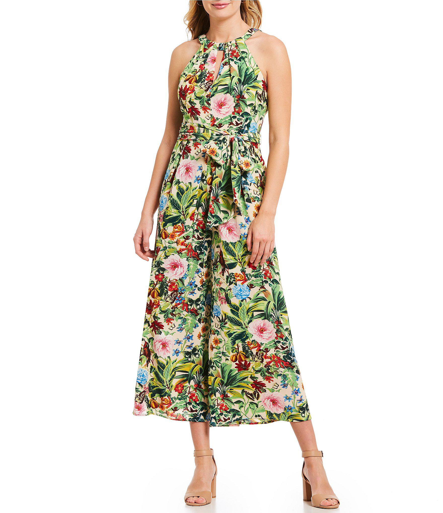 70751b0654c Lyst - Maggy London Jungle Floral Printed Crepe Jumpsuit in Green