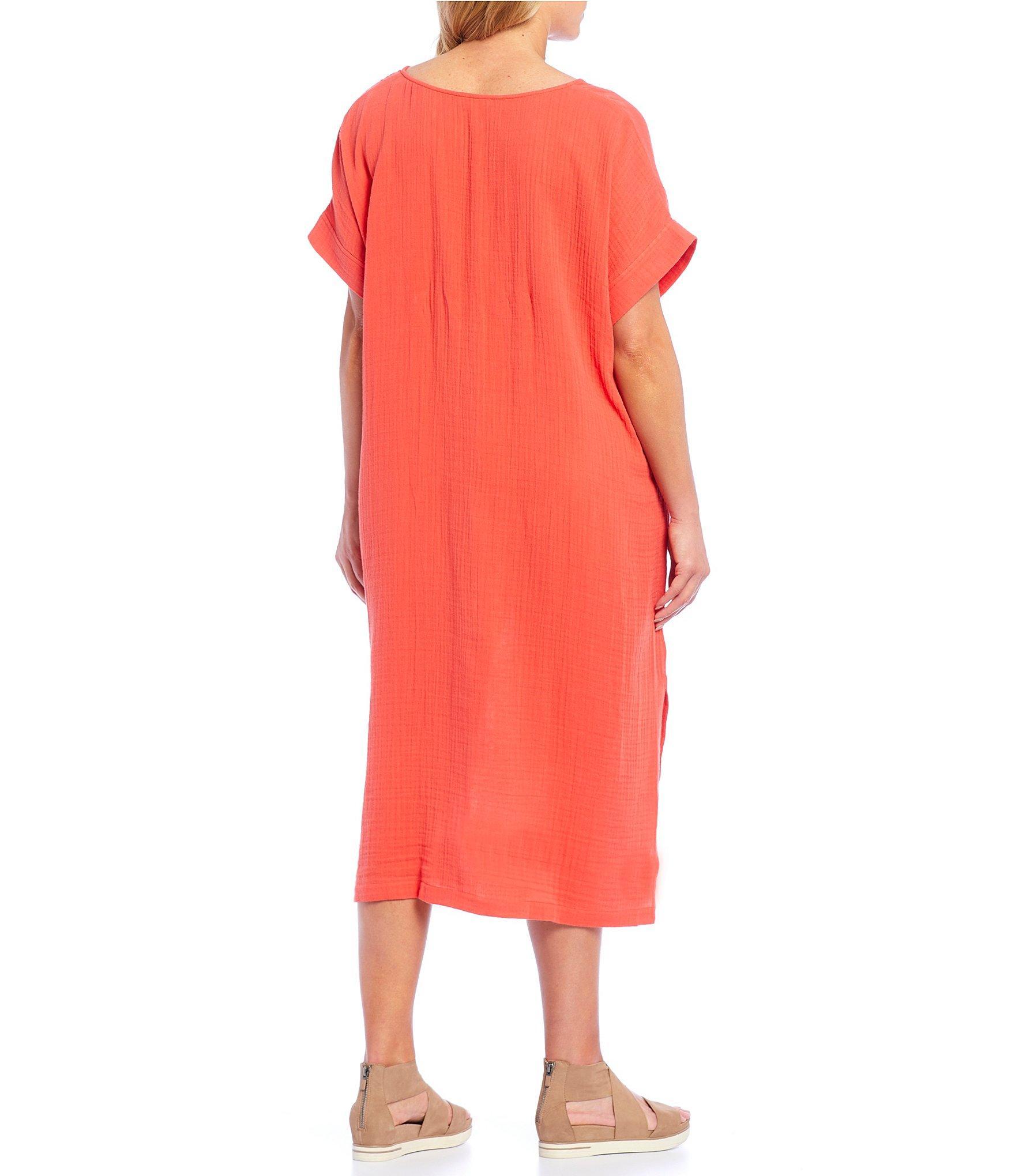 5866d6f3ed0 Eileen Fisher - Red Plus Size V-neck Side Slit Midi Dress - Lyst. View  fullscreen