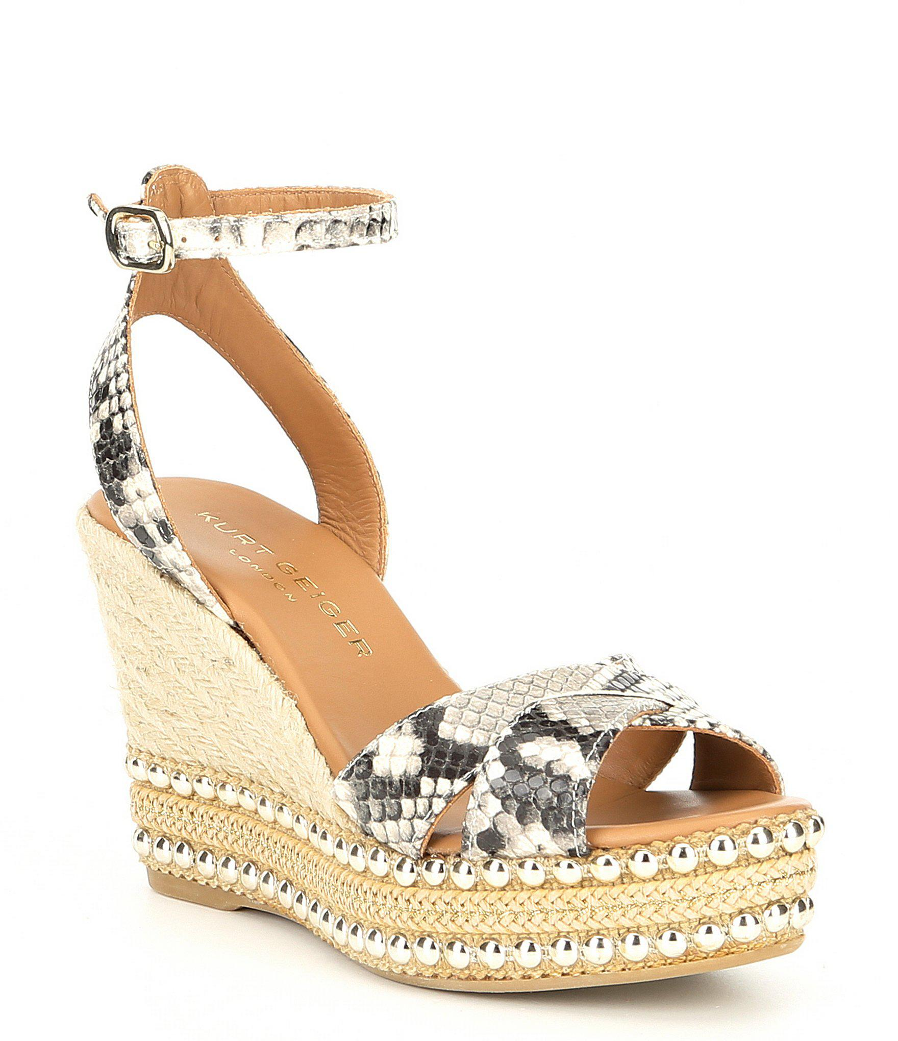 91728aa487f Lyst - Kurt Geiger Amelia Leather Espadrille Wedges in Natural