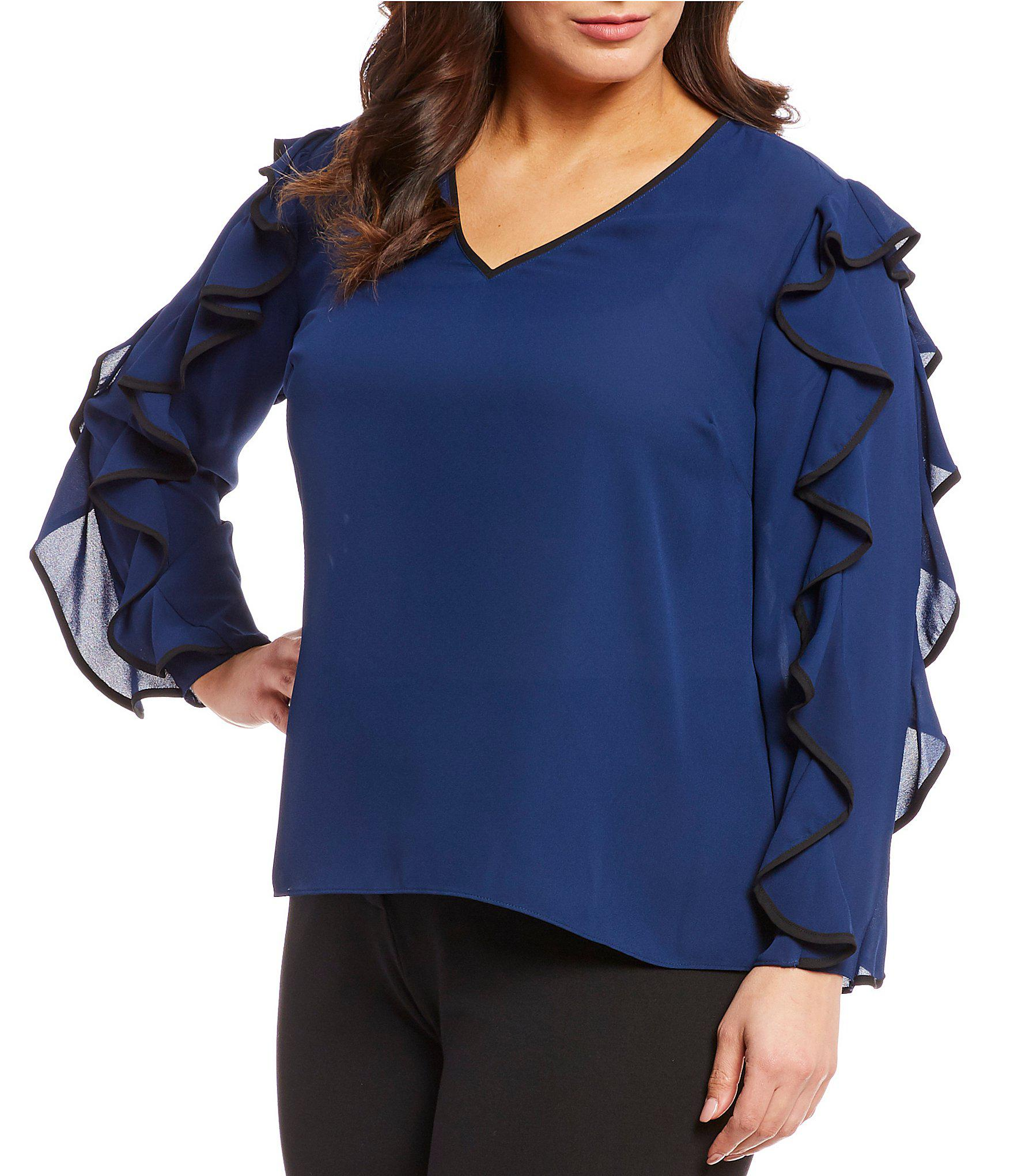 165b033d862 Lyst - Cece Plus Size Long Flutter Sleeve V-neck Blouse in Blue