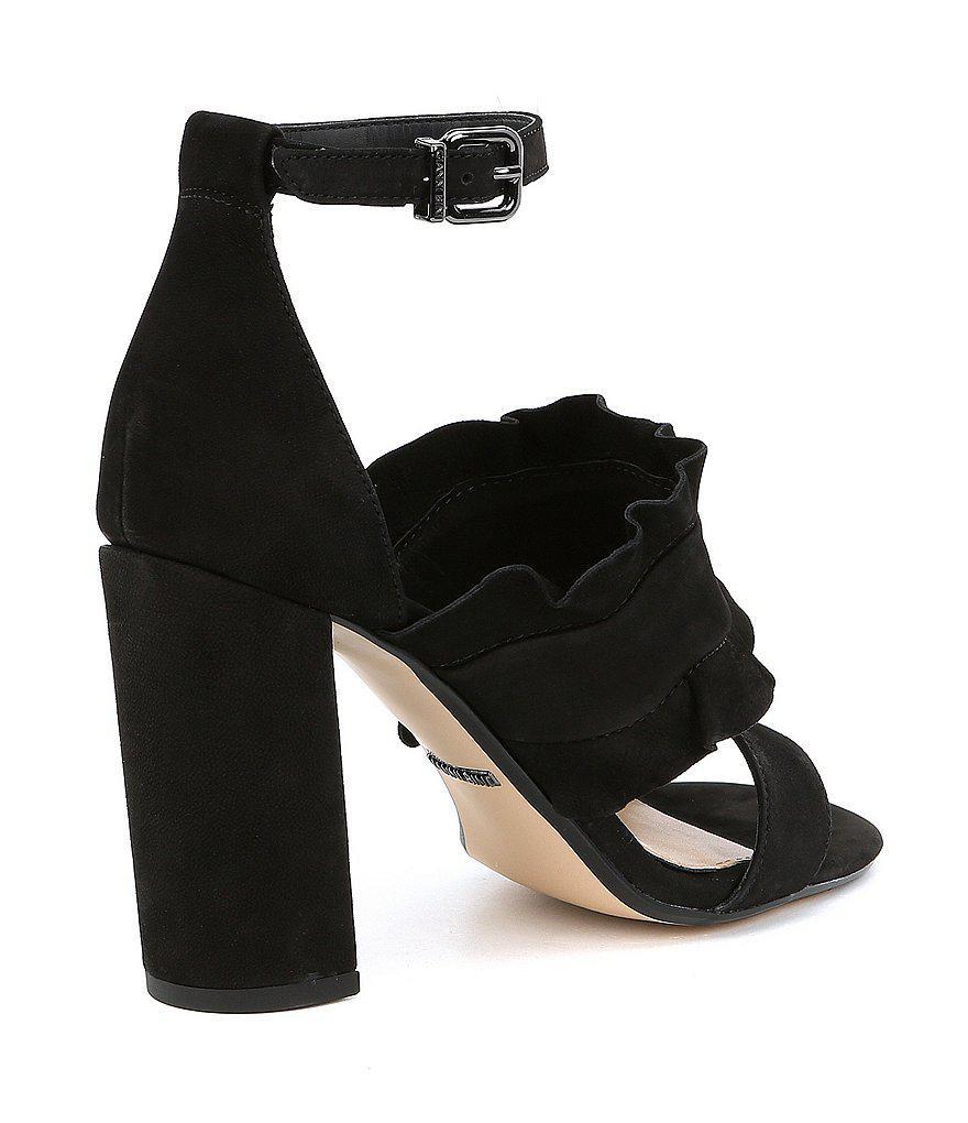 Irinah Suede Ruffle Detail Block Heel Dress Sandals VZxRLcE