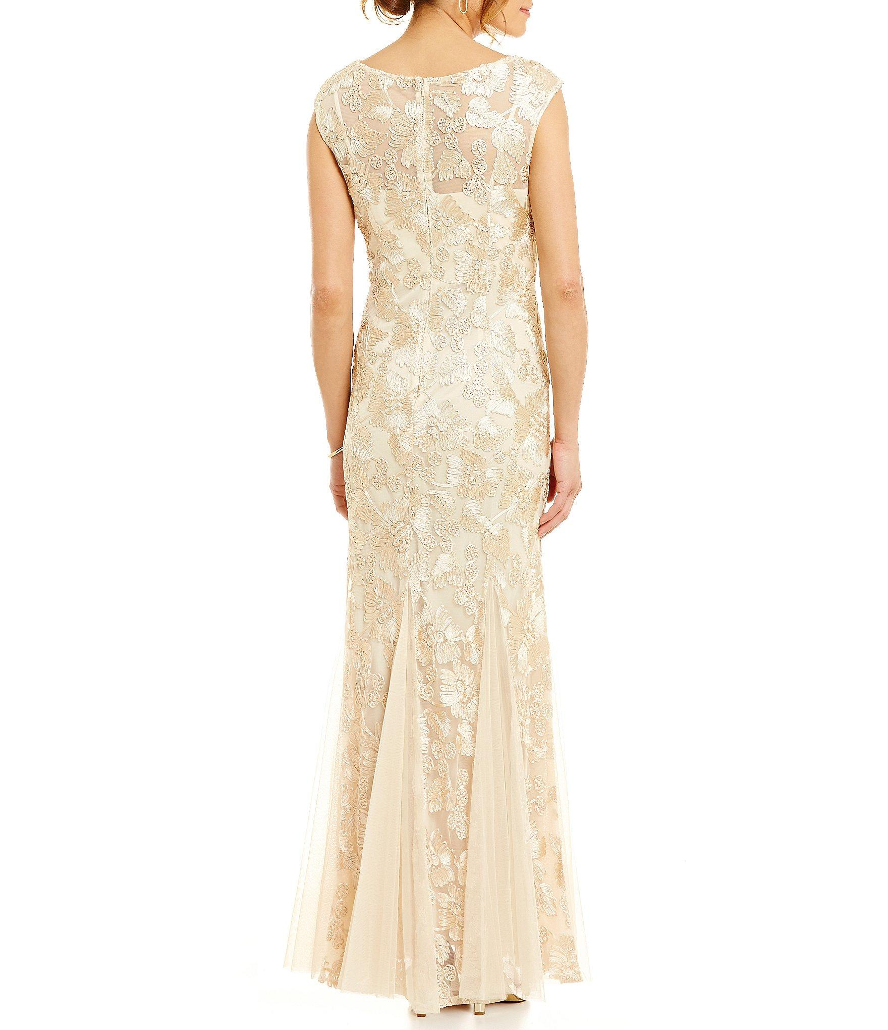e39b6c1dd7c Alex Evenings - Metallic Petite Illusion Boat Neck Sleeveless Floral  Embroidered Gown - Lyst. View fullscreen