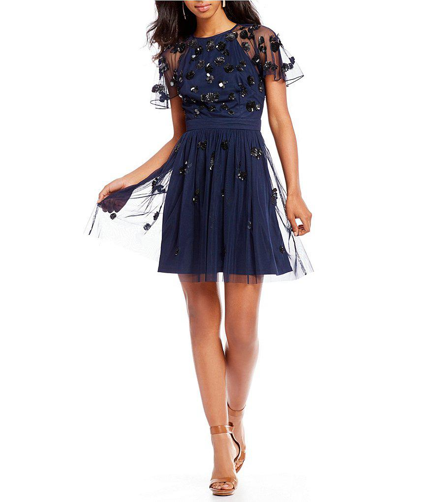 34719fdad5 Gianni Bini Sandra Beaded Tulle Dress in Blue - Lyst