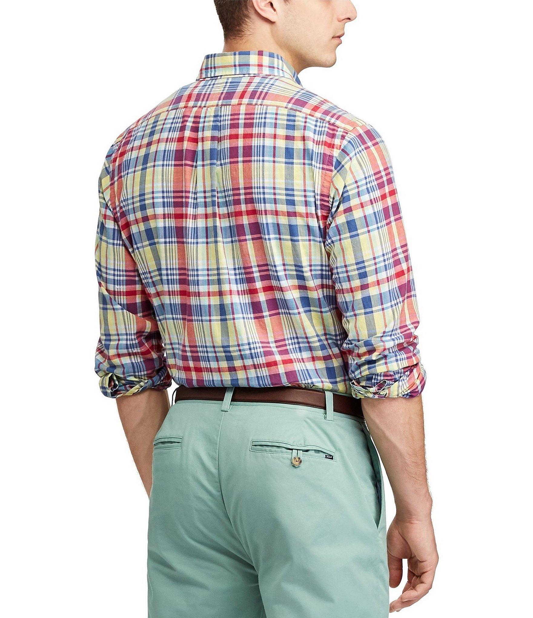 d6a89938 Polo Ralph Lauren - Blue Big & Tall Madras Plaid Long-sleeve Woven Shirt  for. View fullscreen