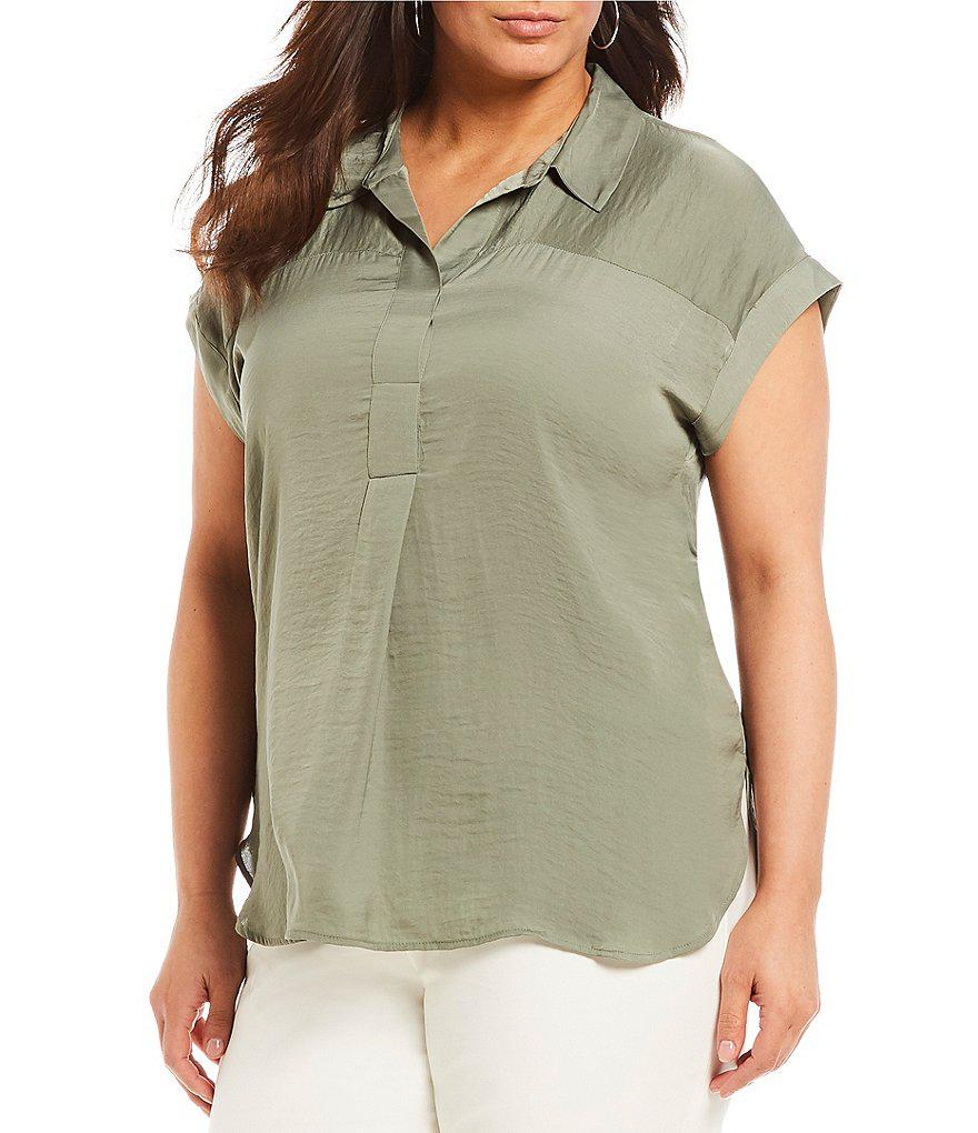 Lyst Vince Camuto Plus Size Collared Henley Blouse In Green