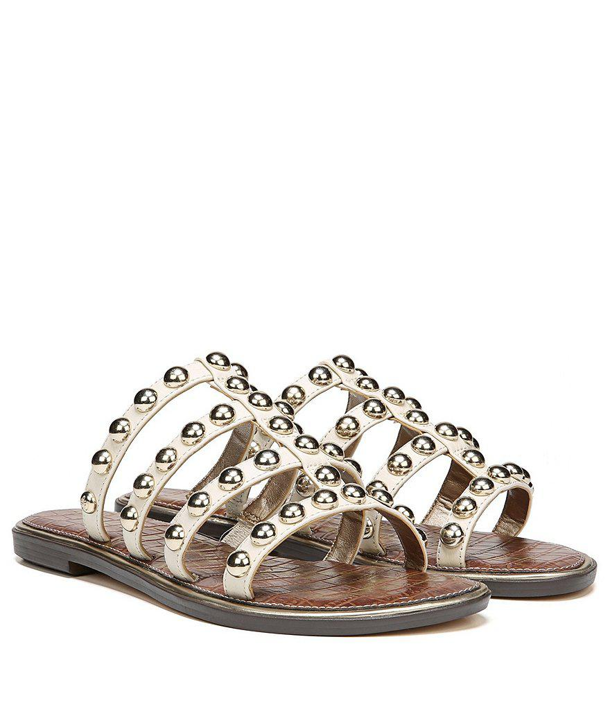 Sam Edelman Glenn Leather Studded Gladiator Slip On Sandals