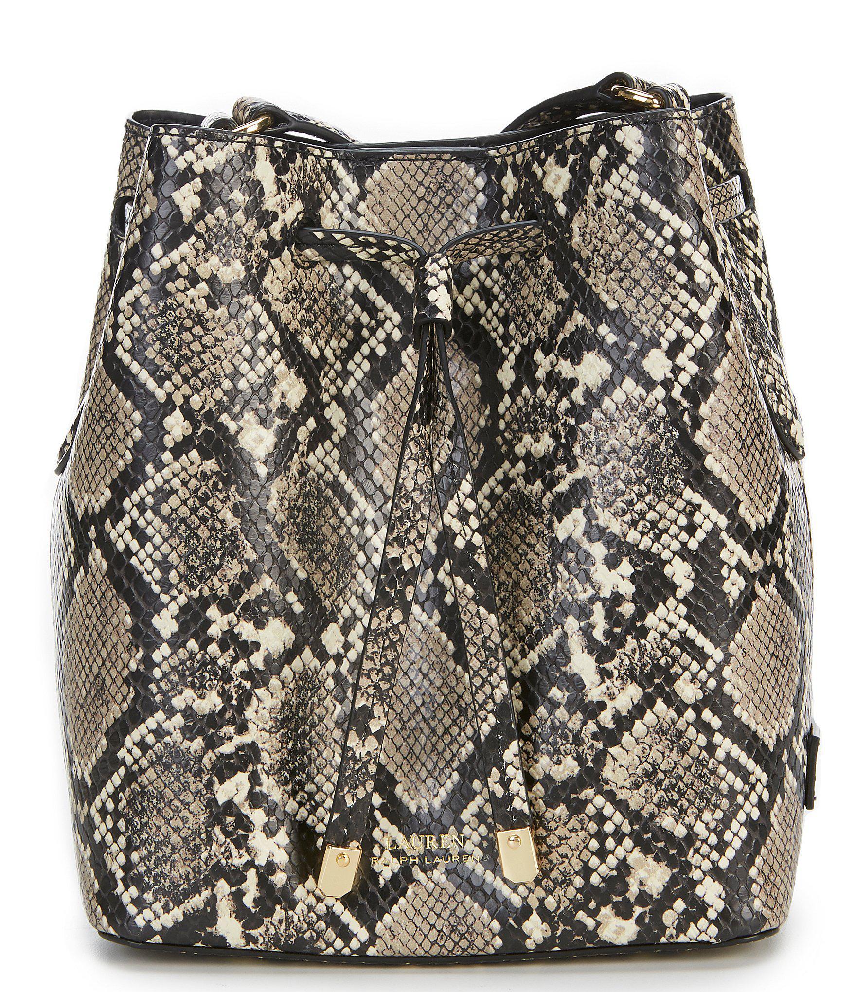 c137d4989b41a6 Lyst - Lauren by Ralph Lauren Mini Debby Snake-embossed Drawstring ...