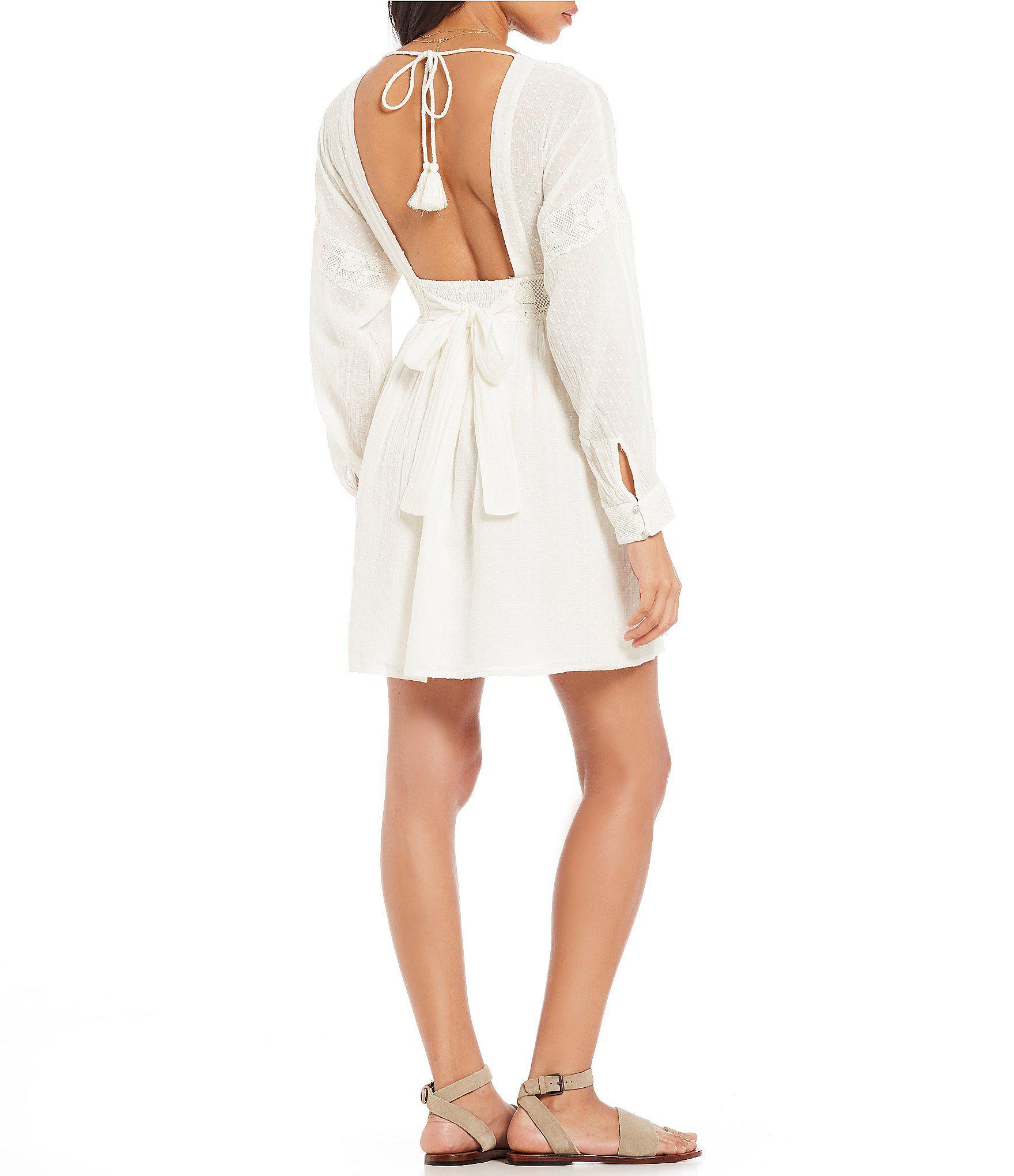 1aca2342dd8 Free People Sugarpie Embroidered Prairie Mini Dress in White - Lyst