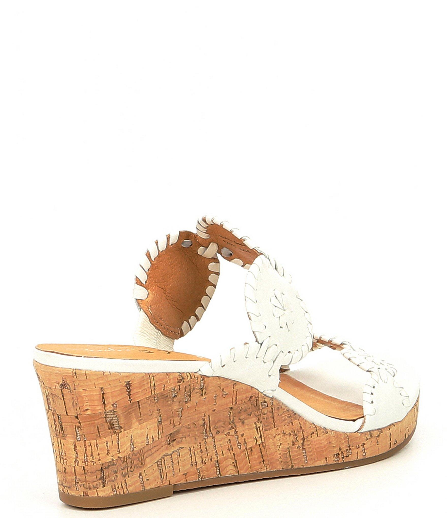 95d290b8b14 Lyst - Jack Rogers Lauren Leather Wedge Sandals in White