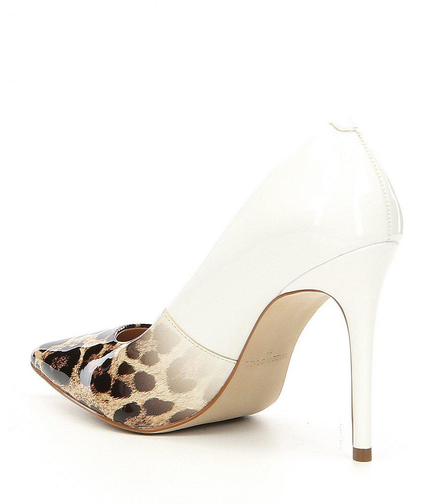 b6646b2fbe6f Steve Madden Zoey Patent Leather Leopard Print Ombre Pumps in White ...