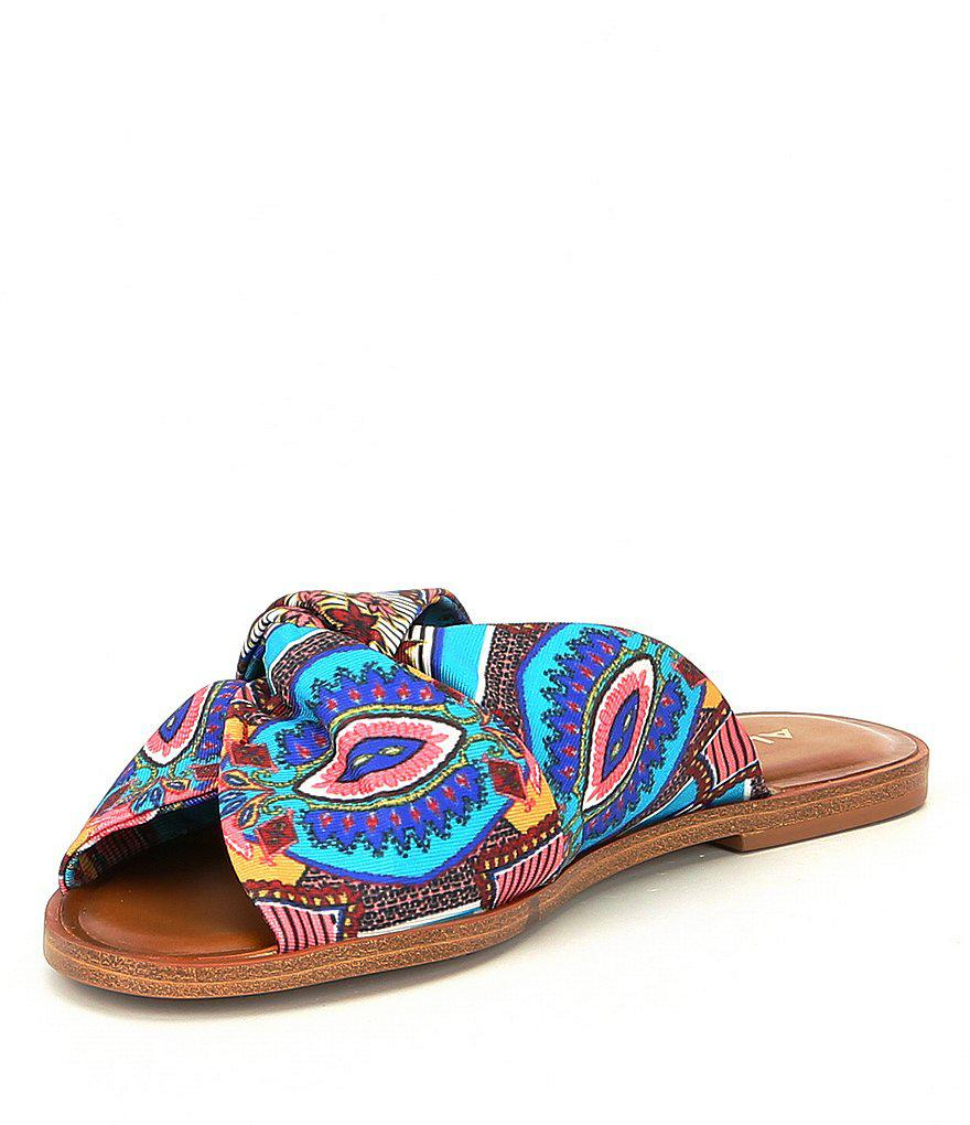 ALDO Sessame Printed Textile Knotted Slides whDoigh