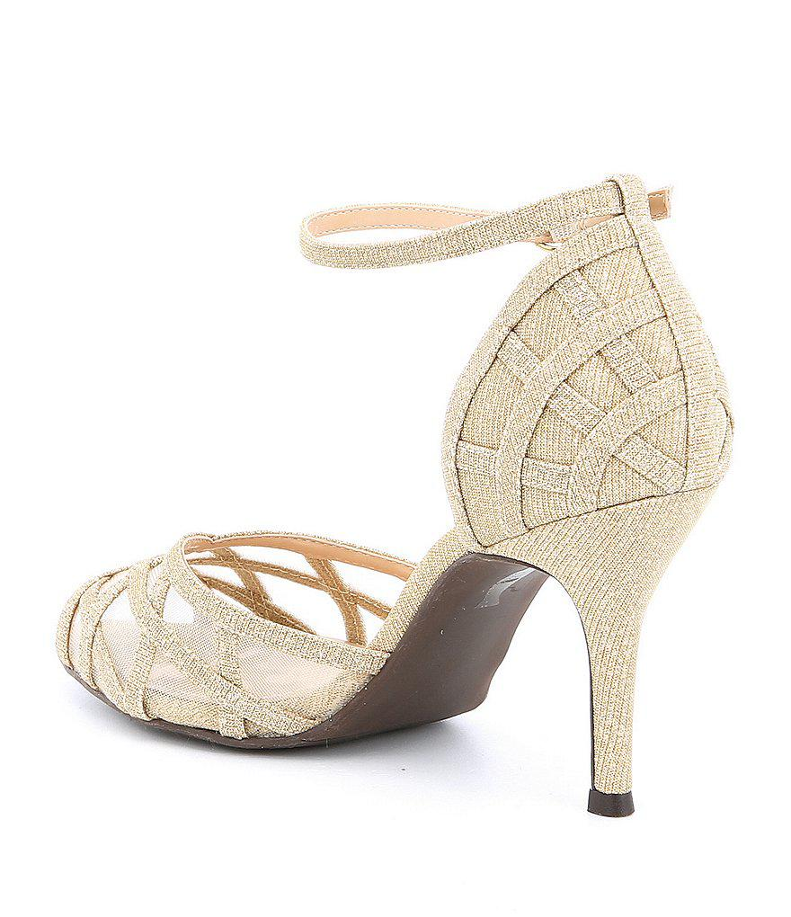 Mataro Glitter and Mesh Ankle Strap Peep-Toe Dress Sandals