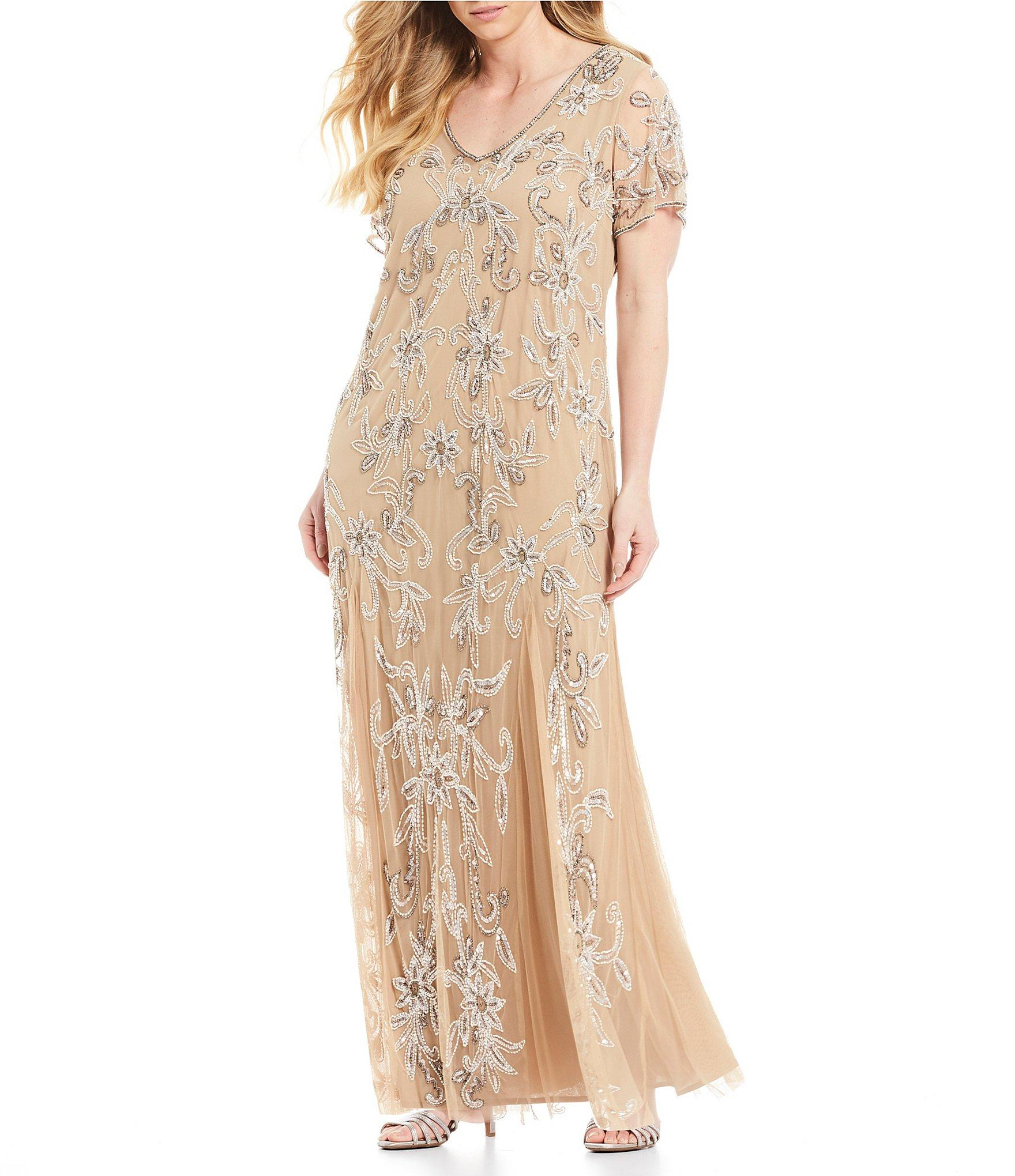 8368ddcdeb9 Lyst - Pisarro Nights Plus Size V-neck Beaded Gown in Natural