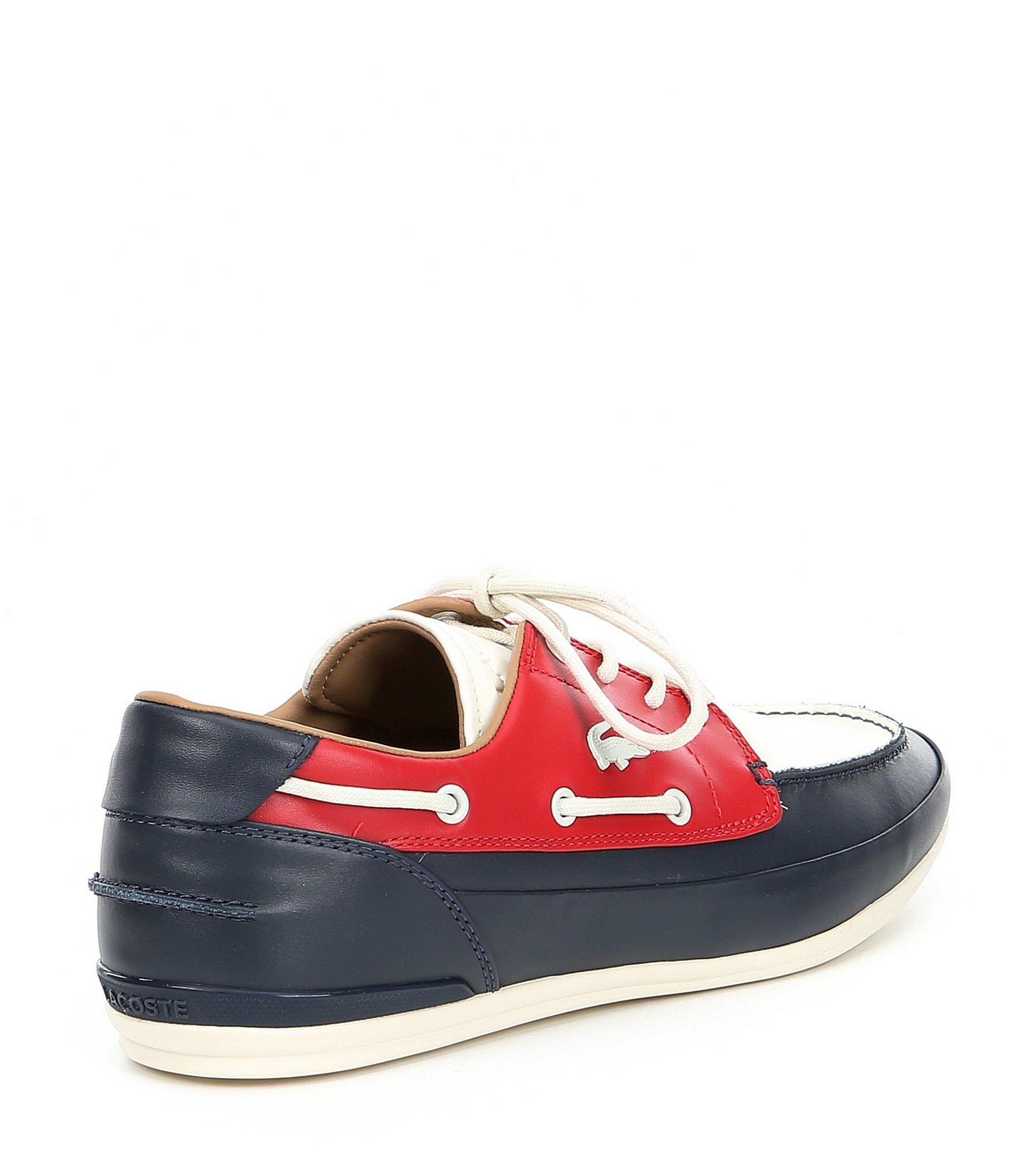 c82c4369c22697 Lacoste - Red Men s Marina Leather Boat Shoe for Men - Lyst. View fullscreen