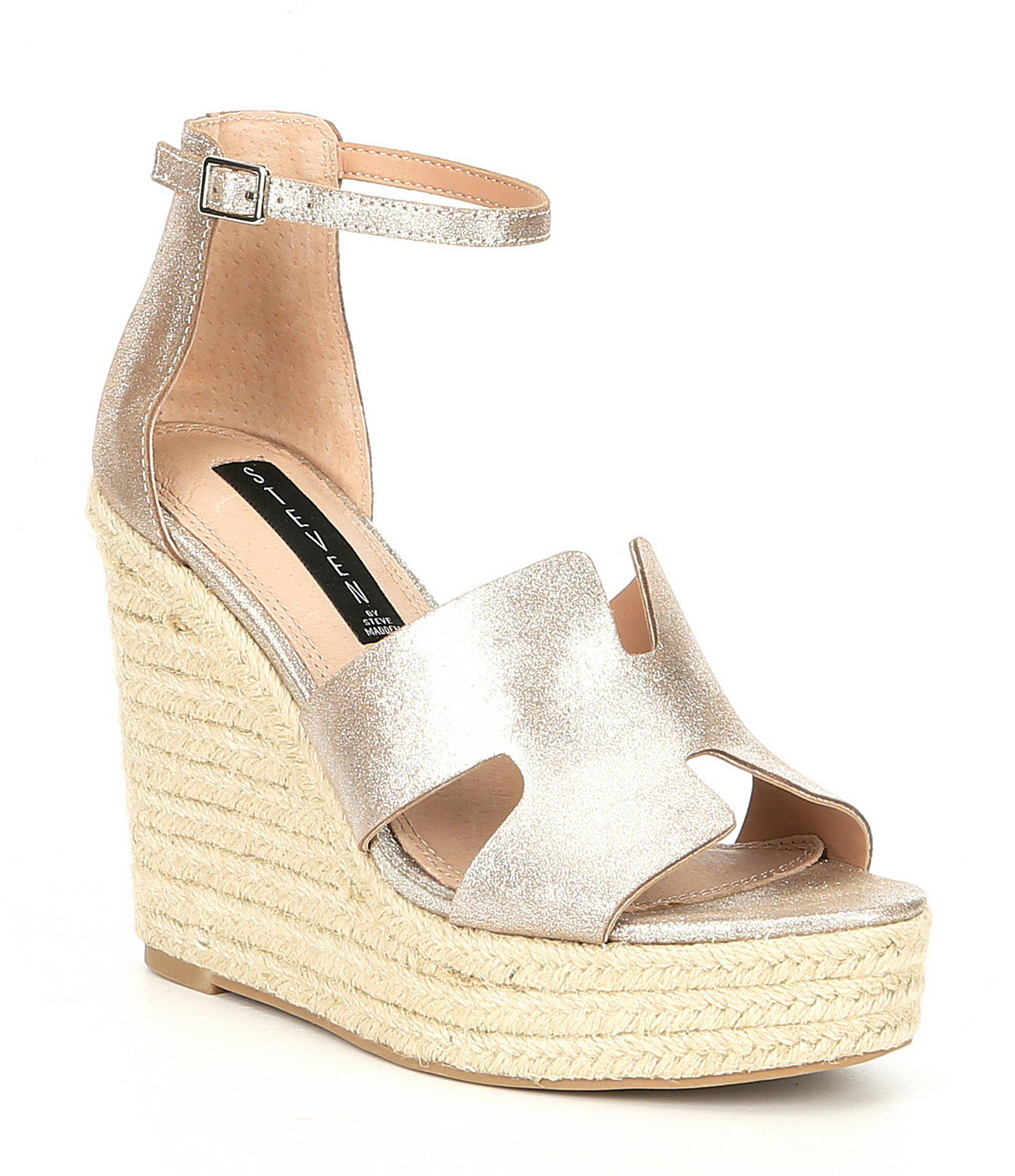 5538b2aaec Steve Madden Steven By Sirena Leather Espadrille Wedge Sandals in ...