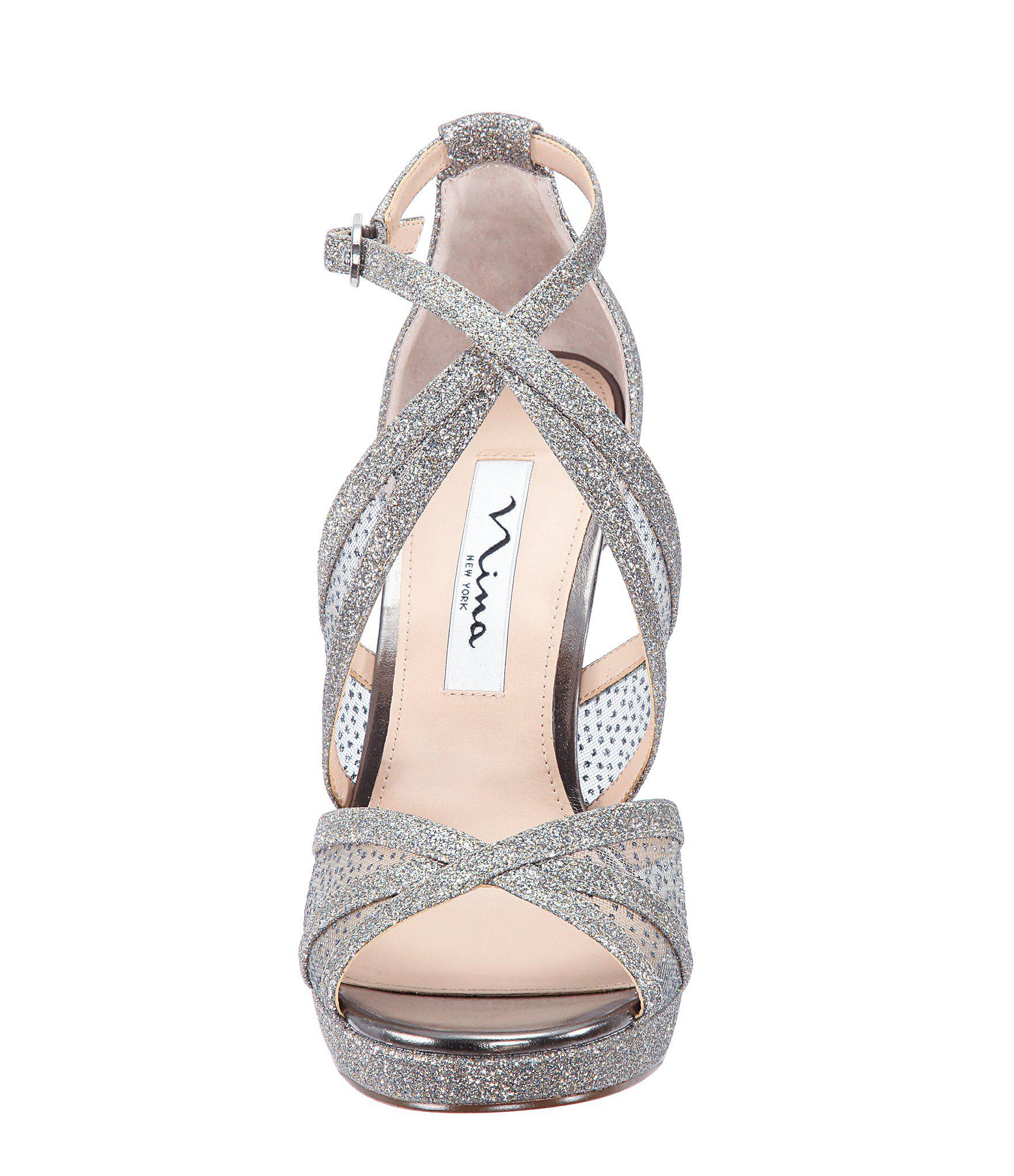 564763881106 Lyst - Nina Fenna Glitter Strappy Dress Sandals