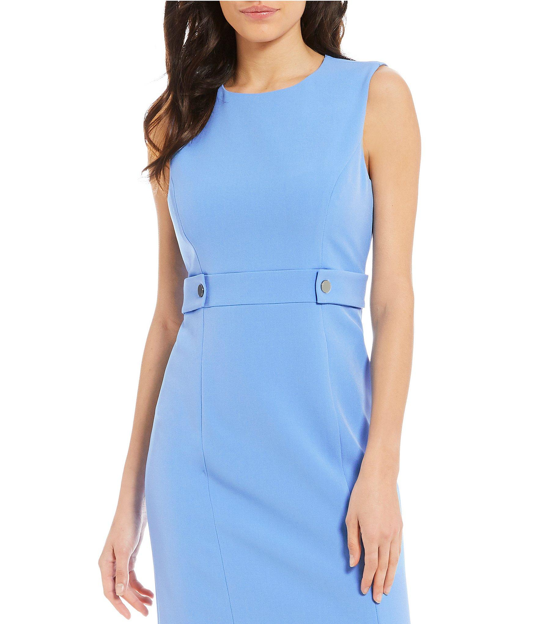 fbaf6d549c6 Lyst - Kasper Stretch Crepe Belted Waist Sleeveless Sheath Dress in Blue