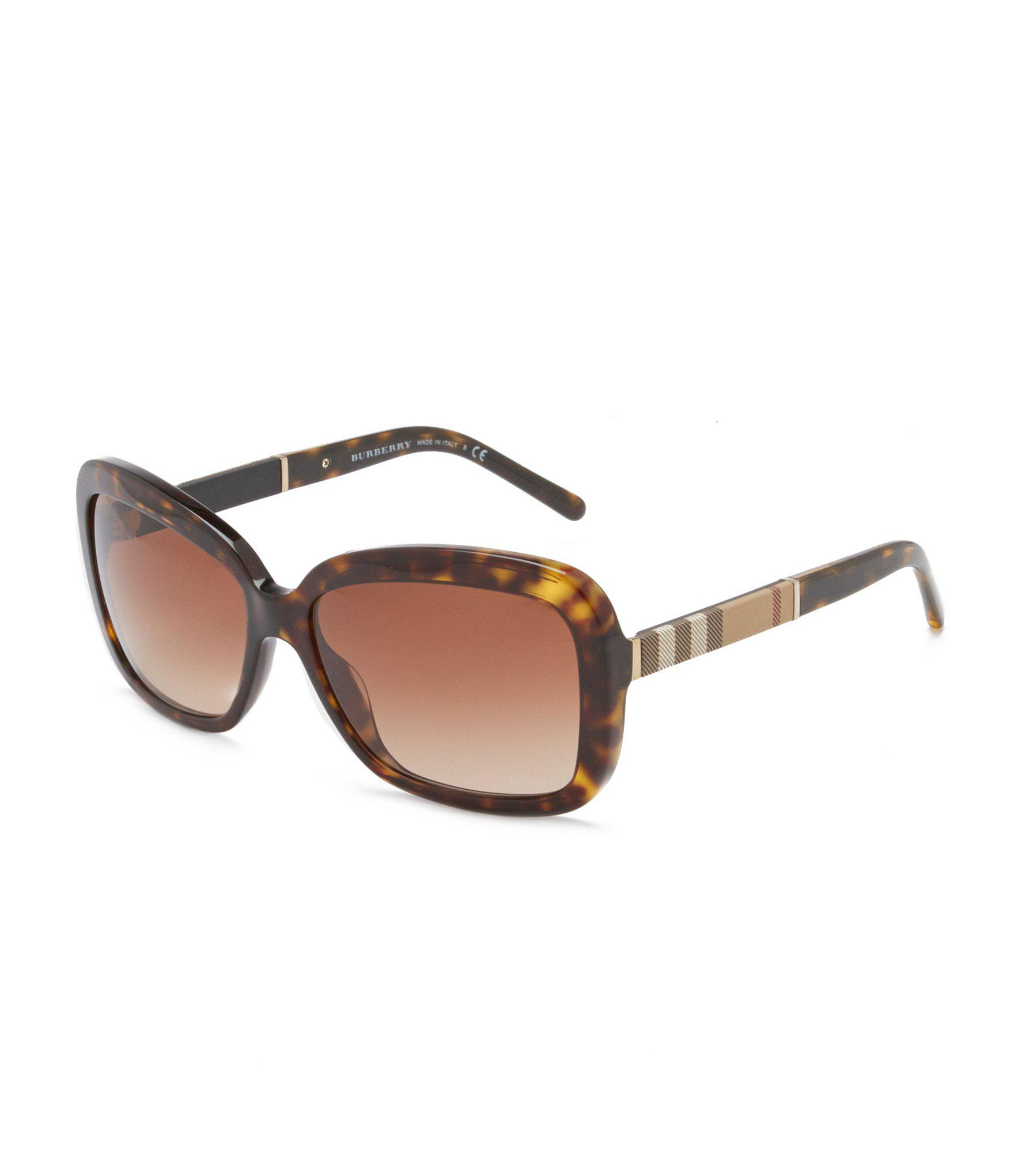 436c7aa8535d Lyst - Burberry Canvas Check Square Gradient Sunglasses in Brown
