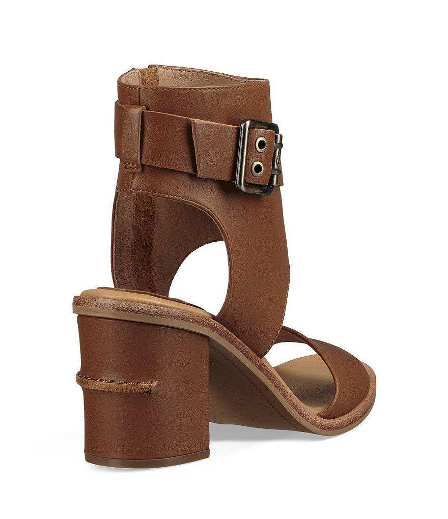 723f8c22e87eb Lyst - UGG Claudette Buckle Detail Side Zip Block Heel Sandals in Brown