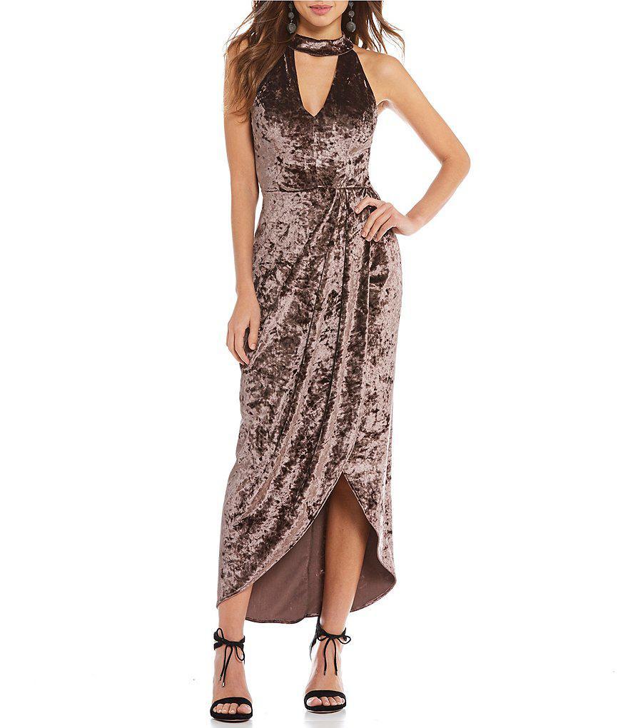 795998c4ef Lyst - Gianni Bini Allie Velvet Choker Neck Midi Dress