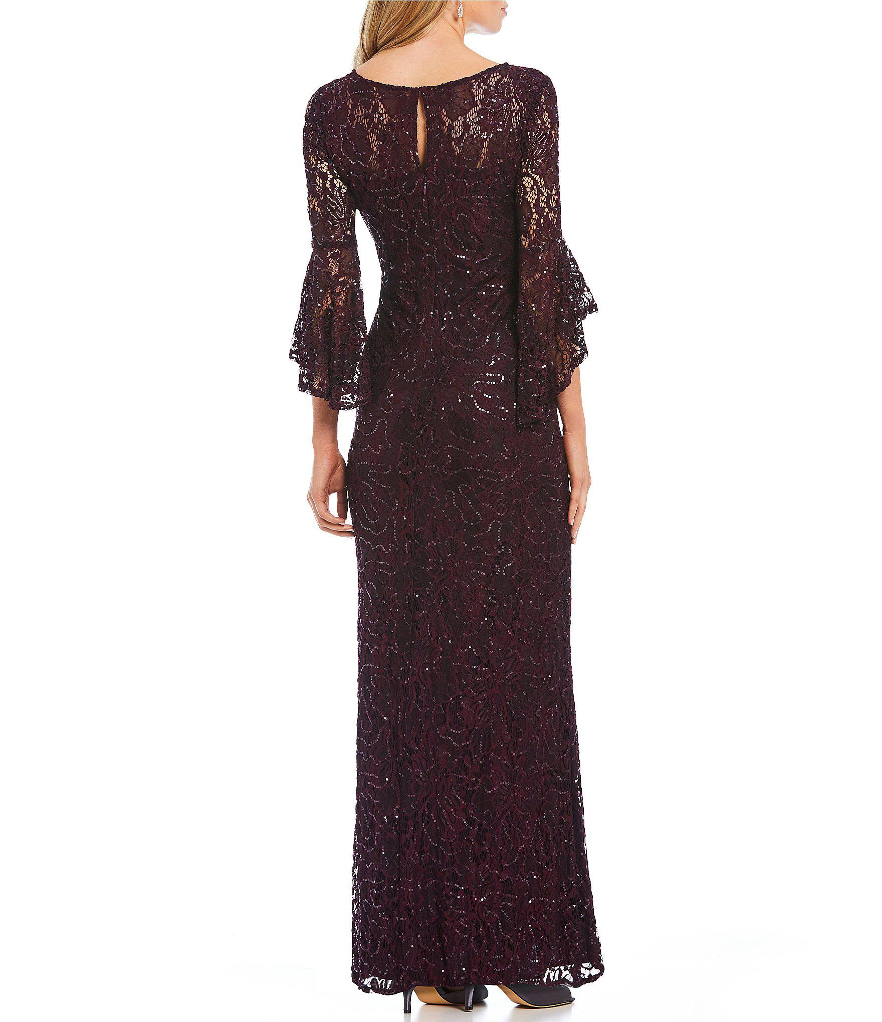 ed4ac6b3b R   M Richards Plus Size Long Sequin Lace Bell Sleeve Gown in Purple ...