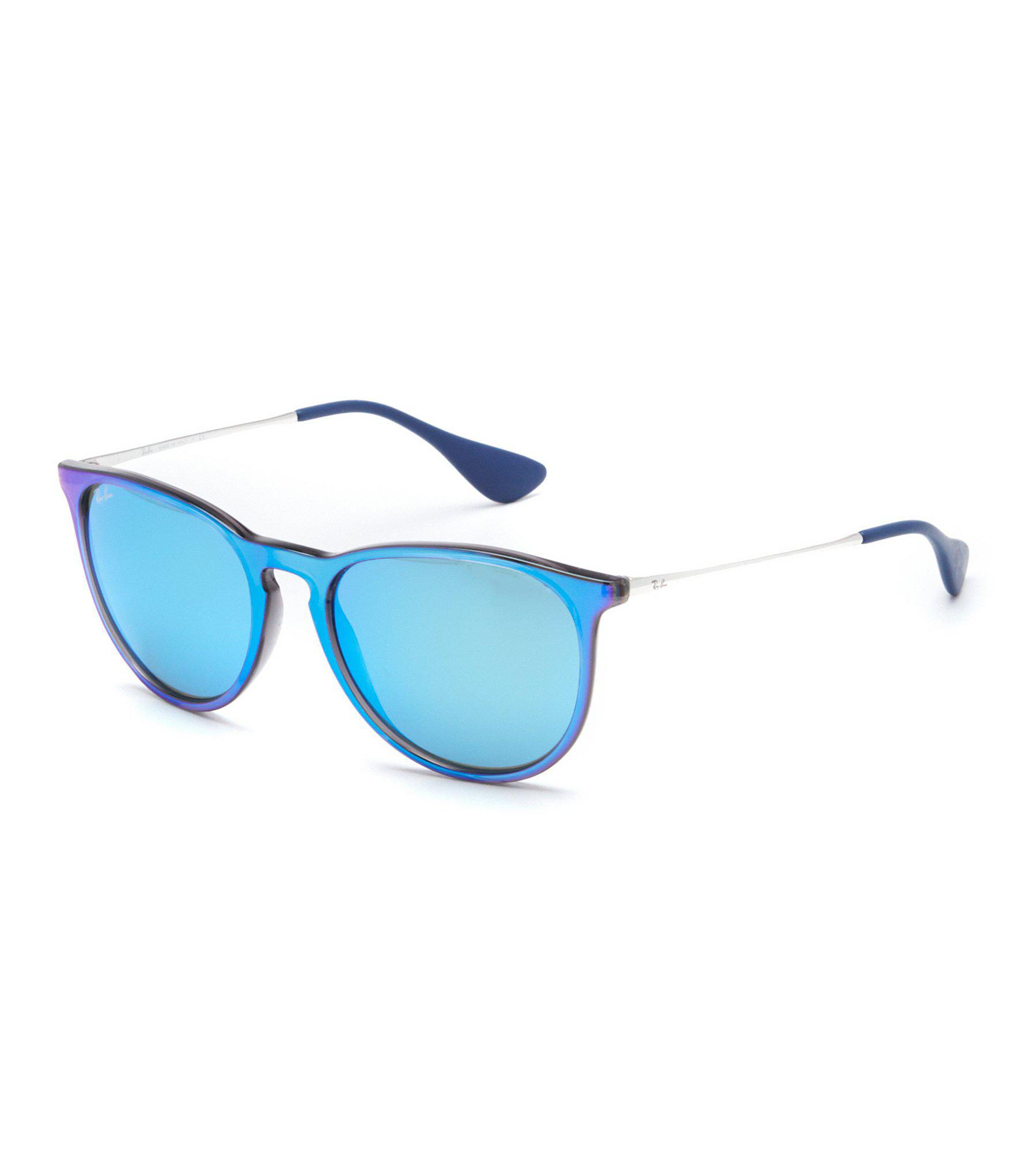 6667c2a5aac Lyst - Ray-Ban Erika Round Mirror Lens Sunglasses in Blue