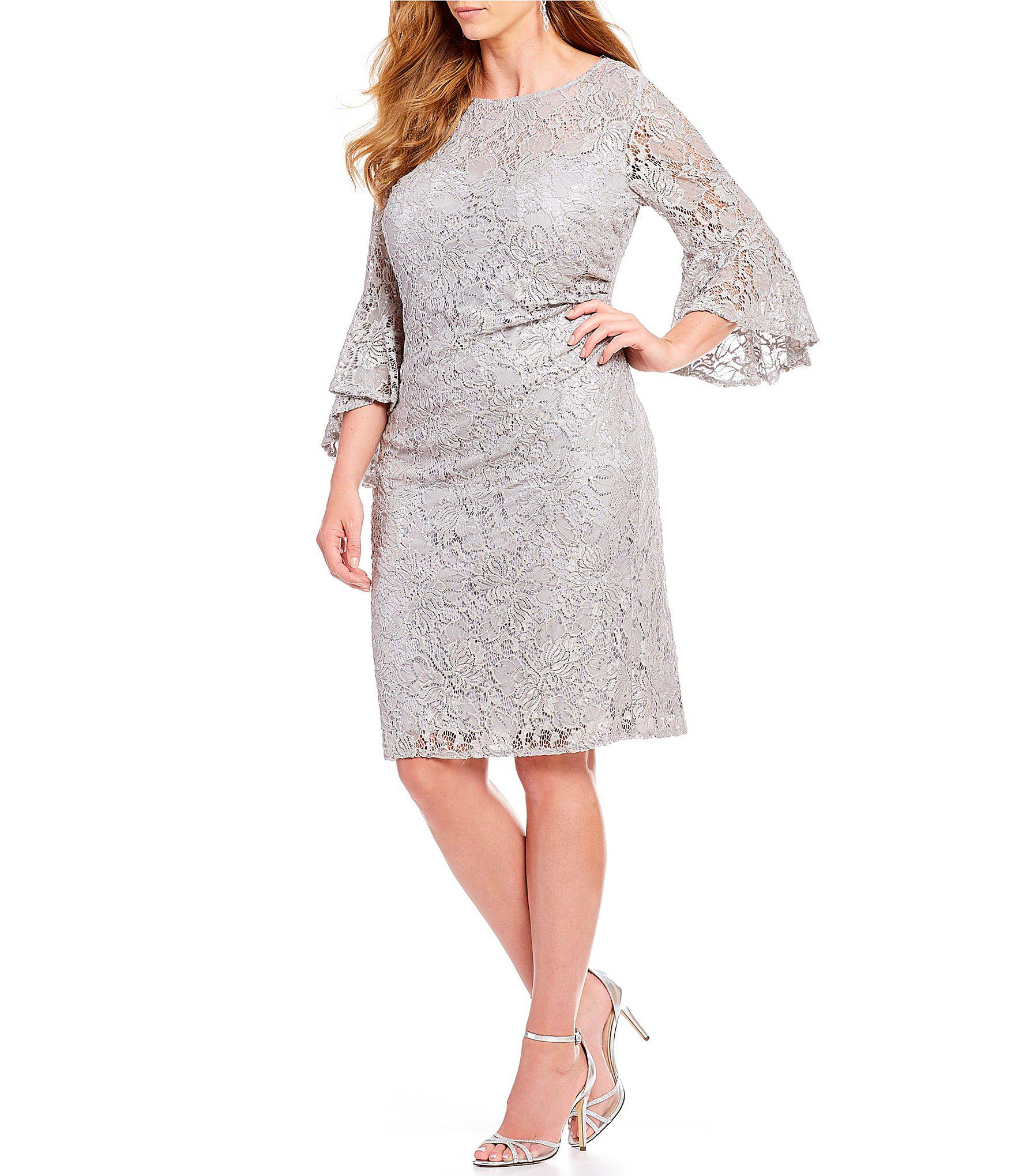 03c0f064bf8 R   M Richards. Women s Metallic Plus Size Sequin Lace Bell Sleeve Dress
