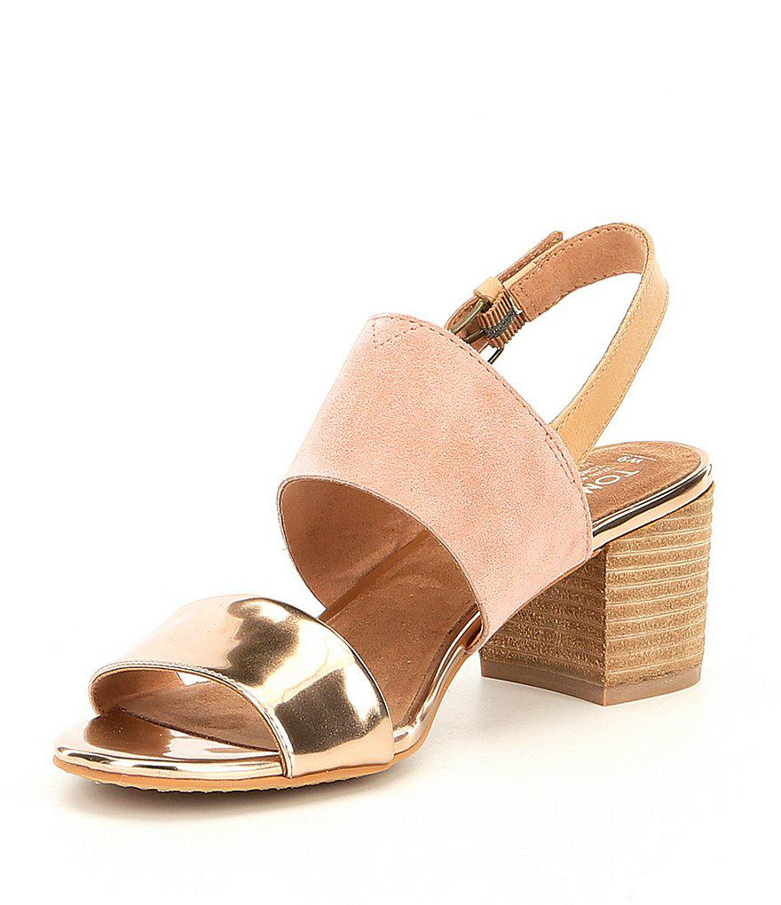 e1ea4b8bc7f Lyst - TOMS Poppy Suede And Metallic Block Heel Sandals