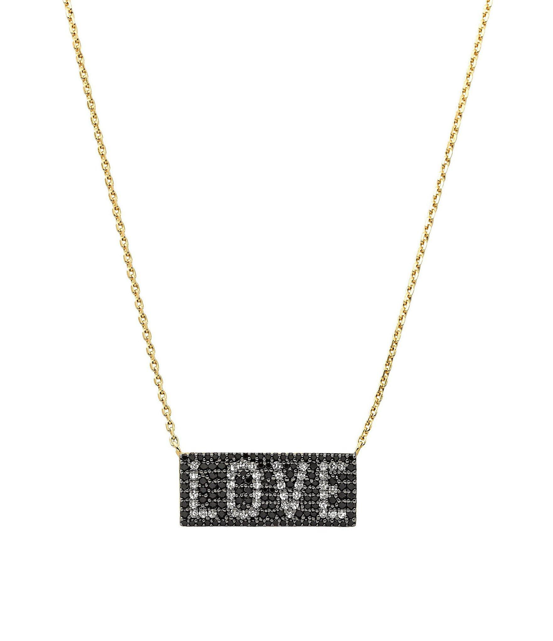 67d23bad26e8 Lyst - Michael Kors Sterling Silver Love Plaque Necklace in Metallic
