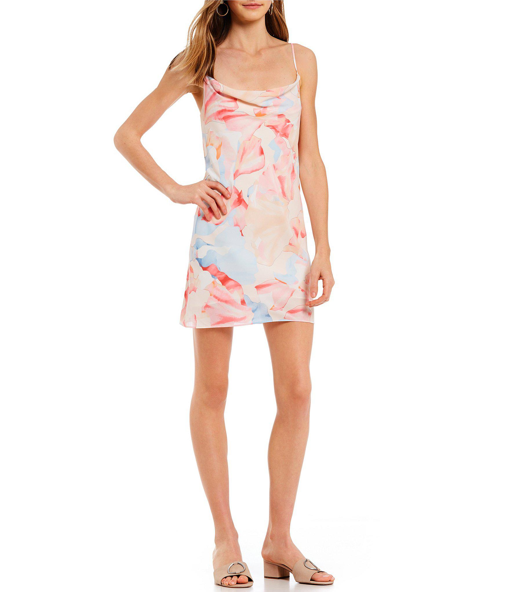 d9bc7947184a 1.STATE Cowl Neck Floral Print Slip Dress - Lyst